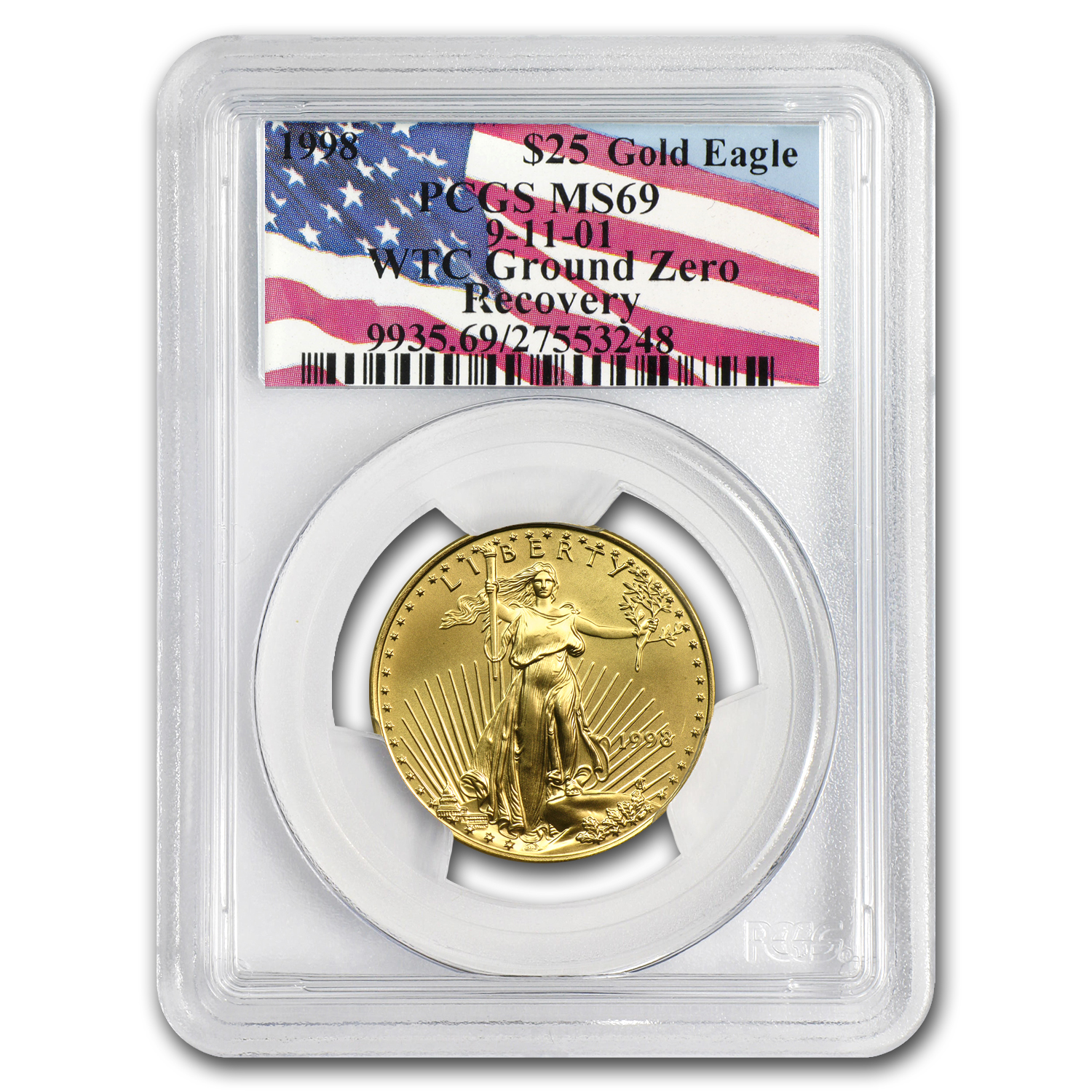 1998 1/2 oz Gold American Eagle MS-69 PCGS (World Trade Center)