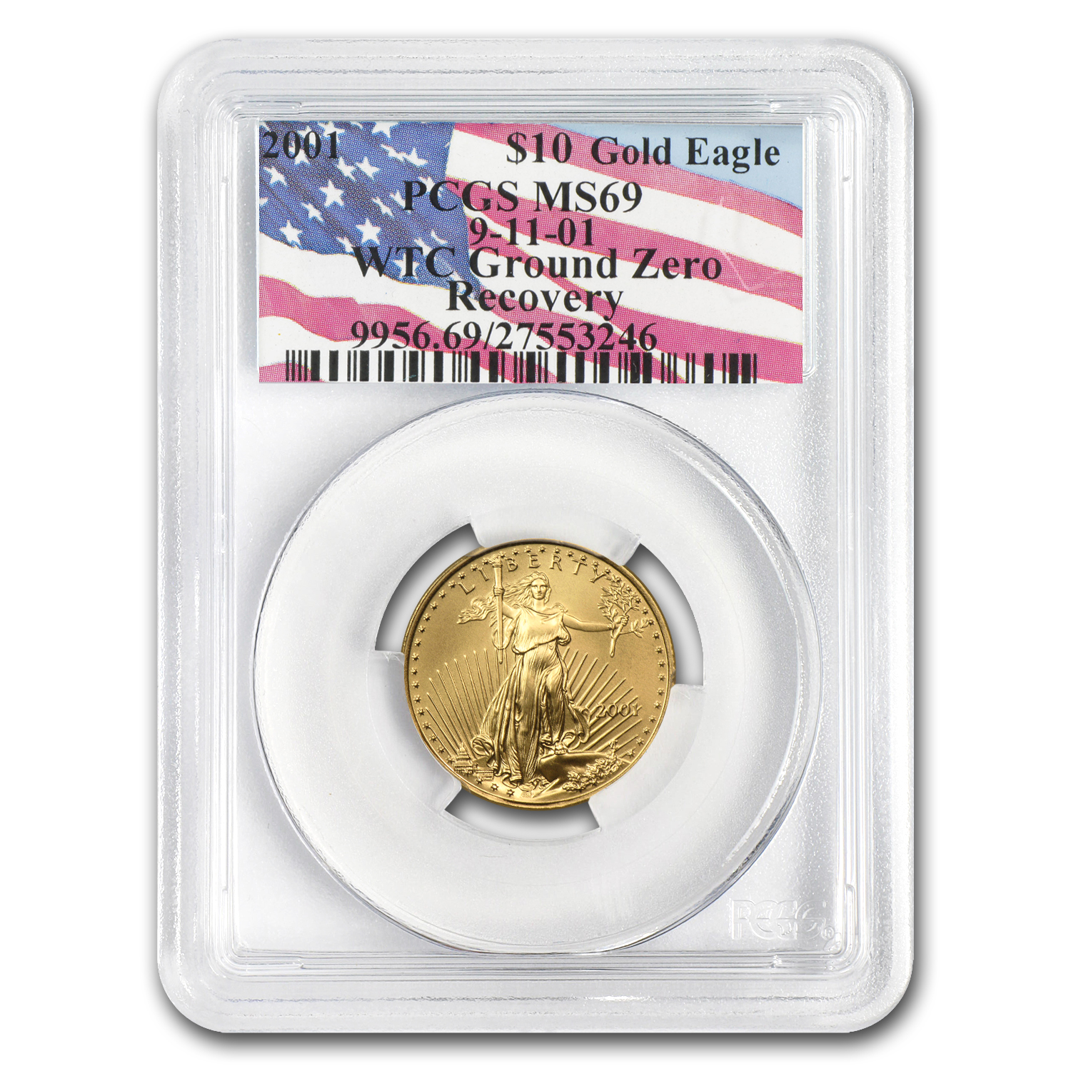 2001 1/4 oz Gold American Eagle MS-69 PCGS (World Trade Center)