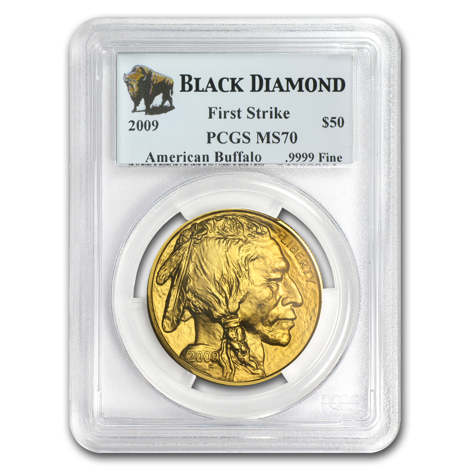 2009 1 oz Gold Buffalo MS-70 PCGS First Strike Black Diamond