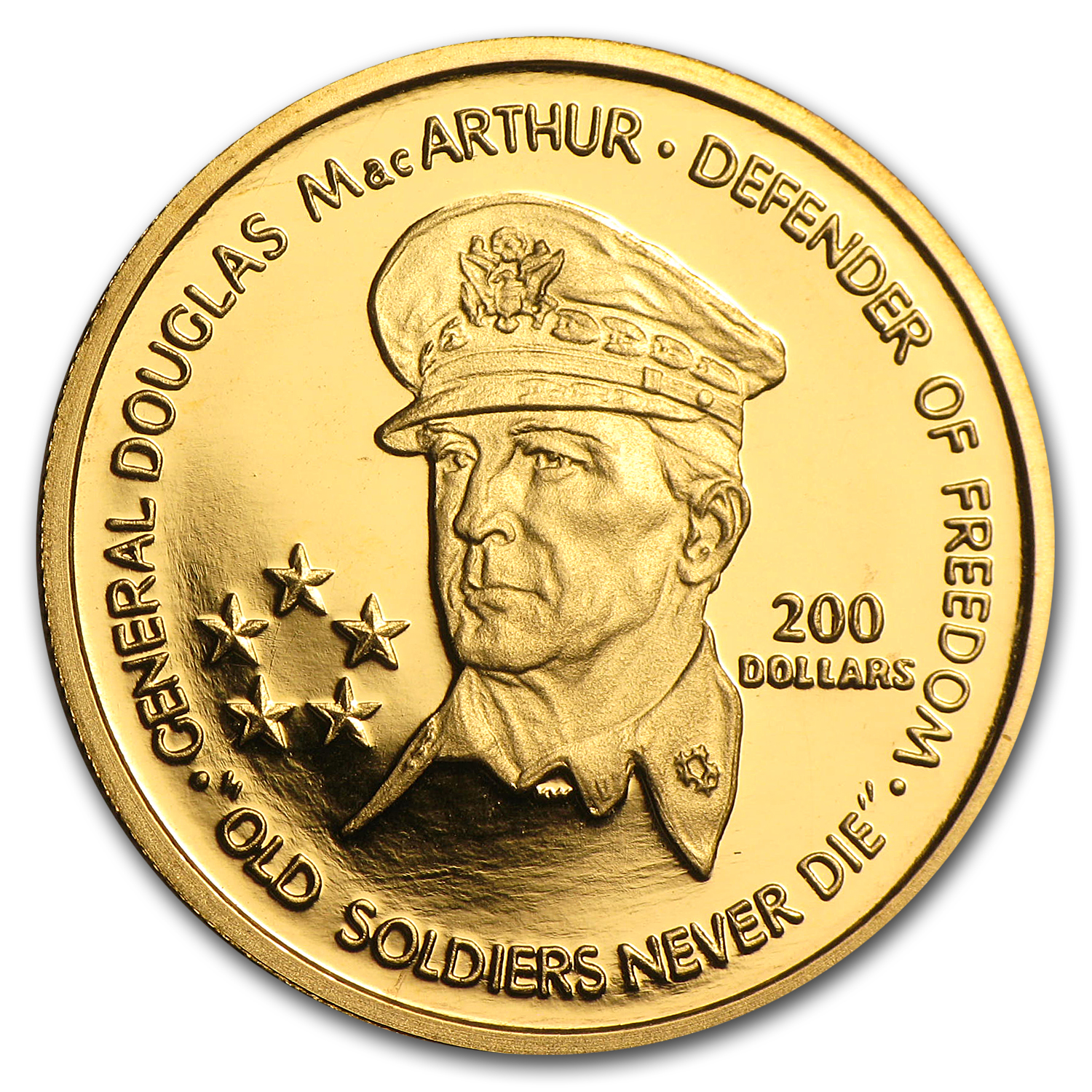 1989 Niue Proof Gold $200 General MacArthur (AGW .200)