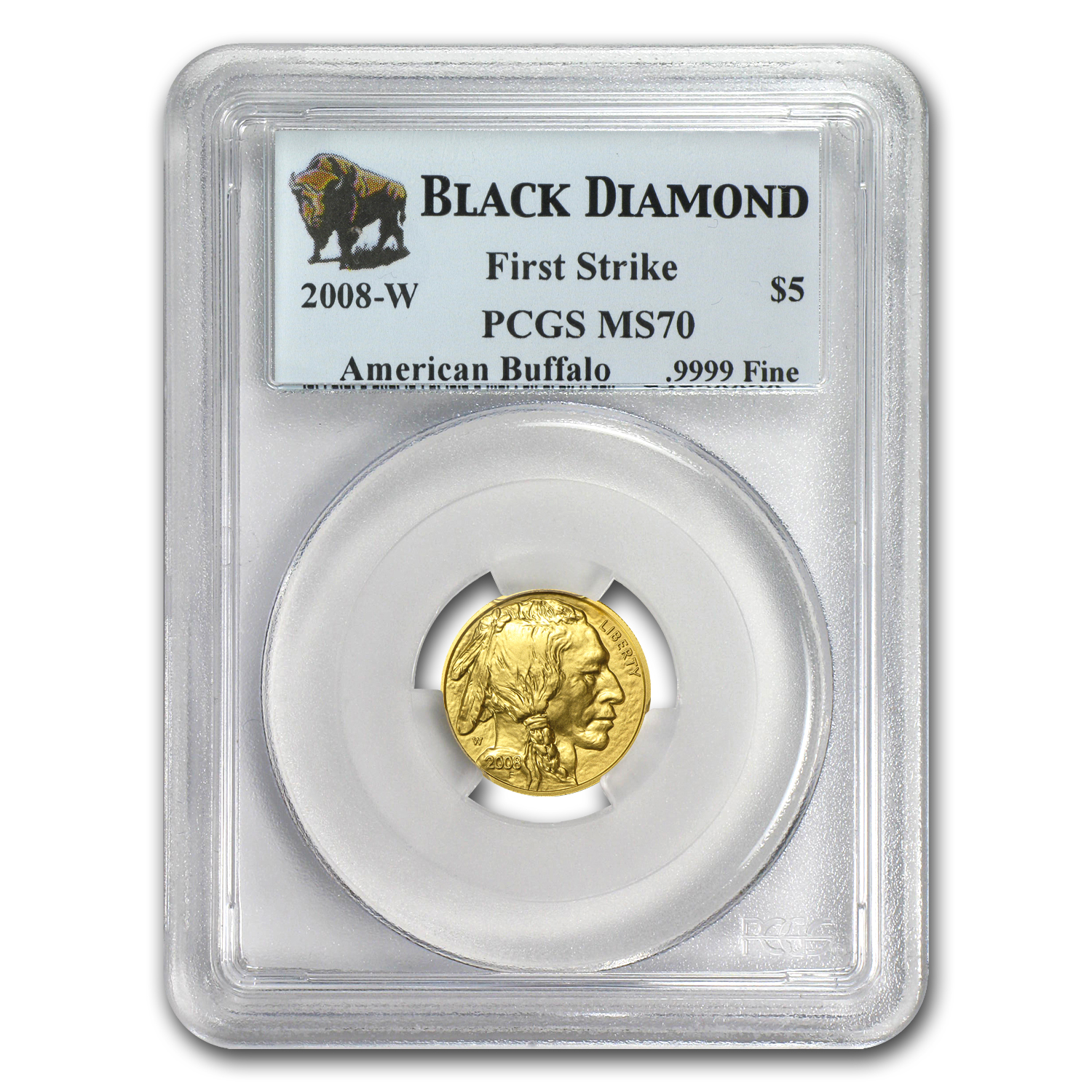 2008-W 1/10 oz Gold Buffalo MS-70 PCGS (FS, Black Diamond)