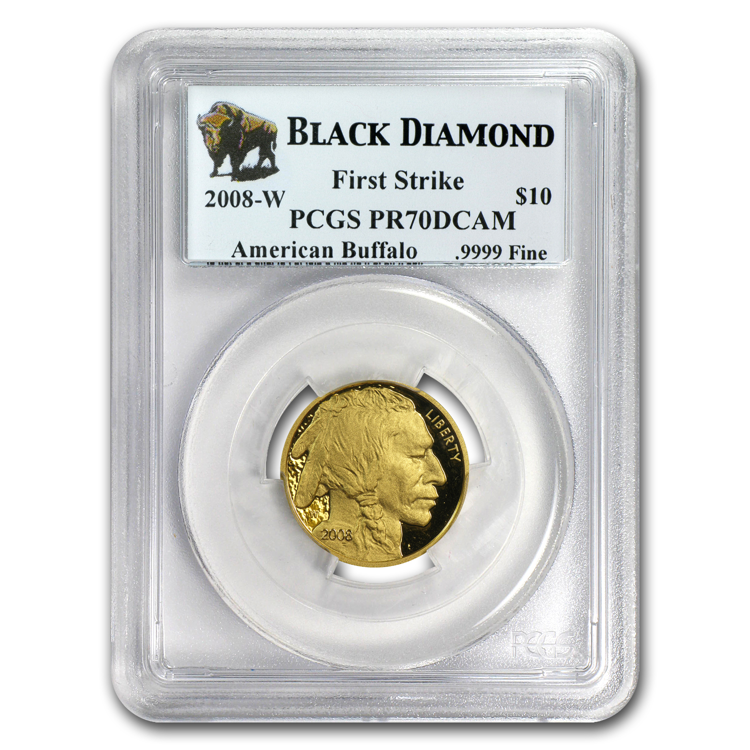 2008-W 1/4 oz Proof Gold Buffalo PR-70 PCGS (FS, Black Diamond)