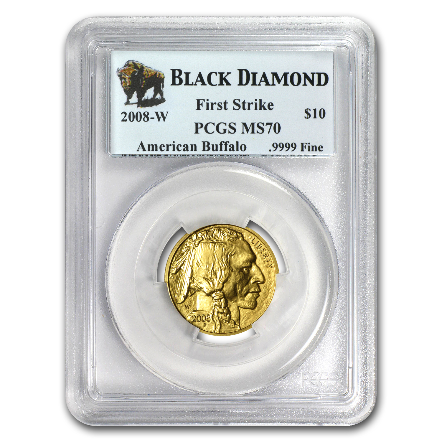 2008-W 1/4 oz Gold Buffalo MS-70 PCGS (FS, Black Diamond)