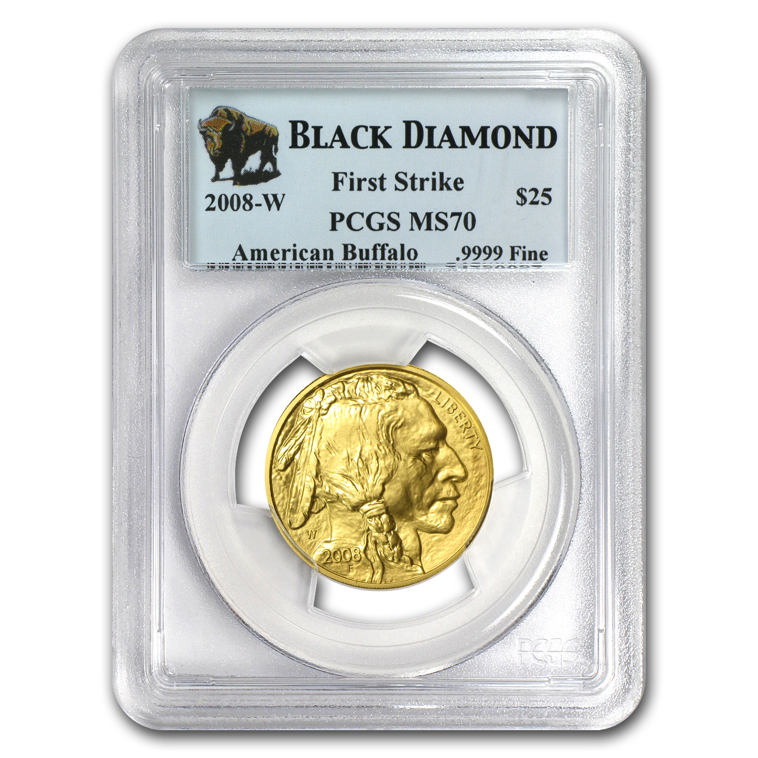 2008-W 1/2 oz Gold Buffalo MS-70 PCGS (FS, Black Diamond)