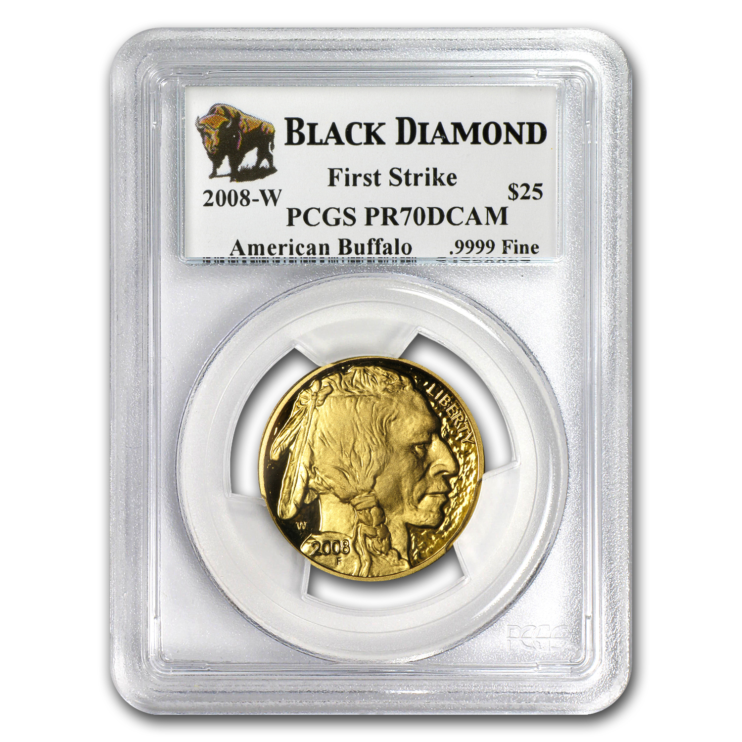 2008-W 1/2 oz Proof Gold Buffalo PR-70 PCGS (FS, Black Diamond)