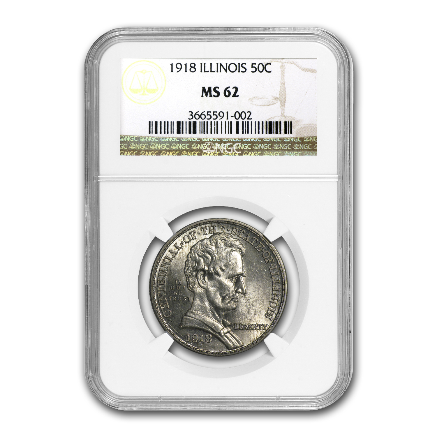 1918 Lincoln Illinois Centennial Half Dollar MS-62 NGC