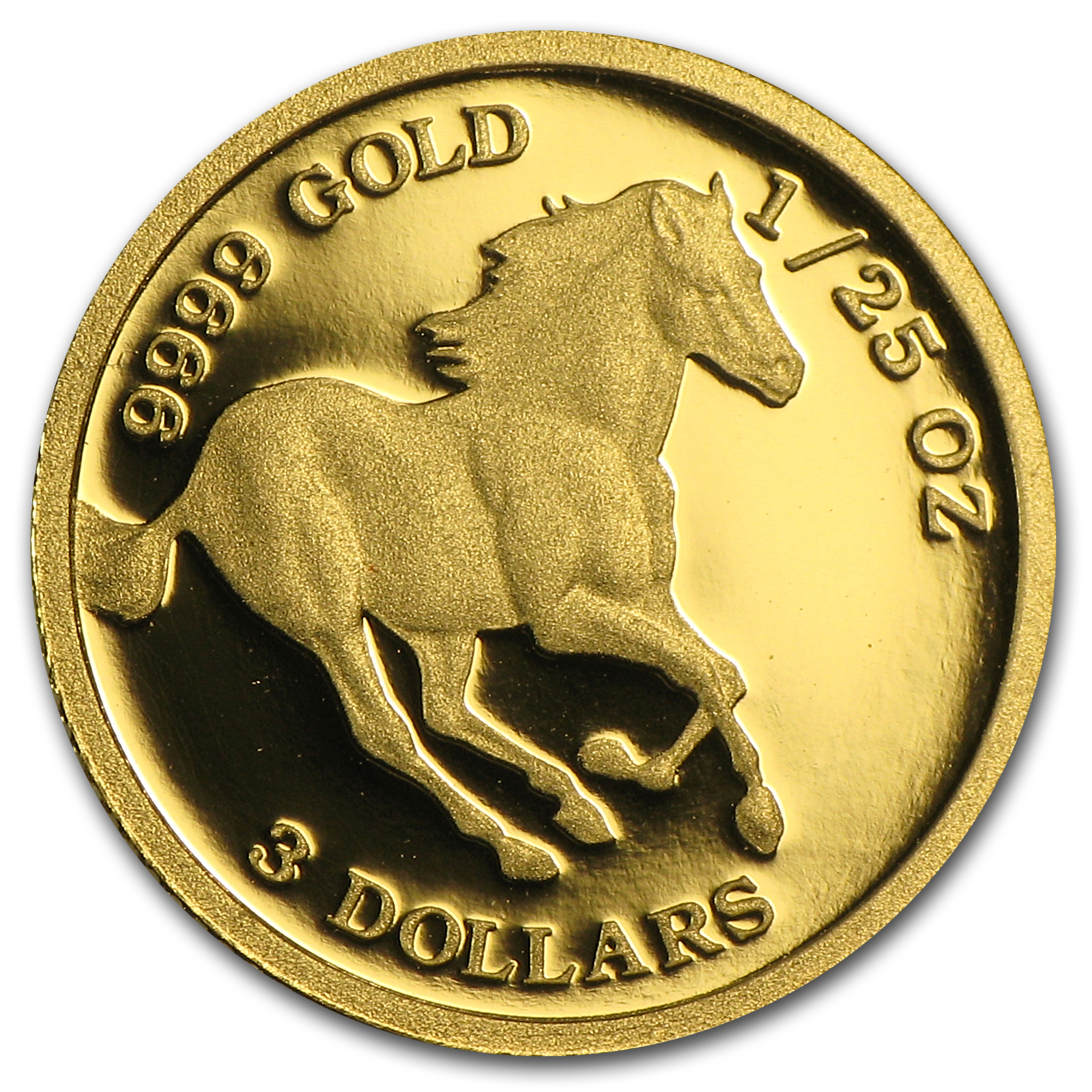 2008 1/25 oz Proof Gold Tuvalu Horse Coin