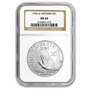 1994-W Vietnam Veterans Memorial $1 Silver Commem MS-69 NGC