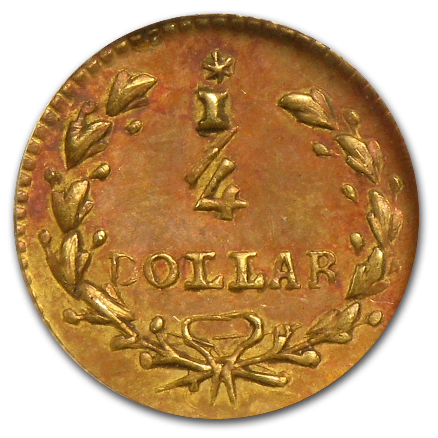 1853 BG-206 Liberty Round 25 Cent Gold AU-58 NGC