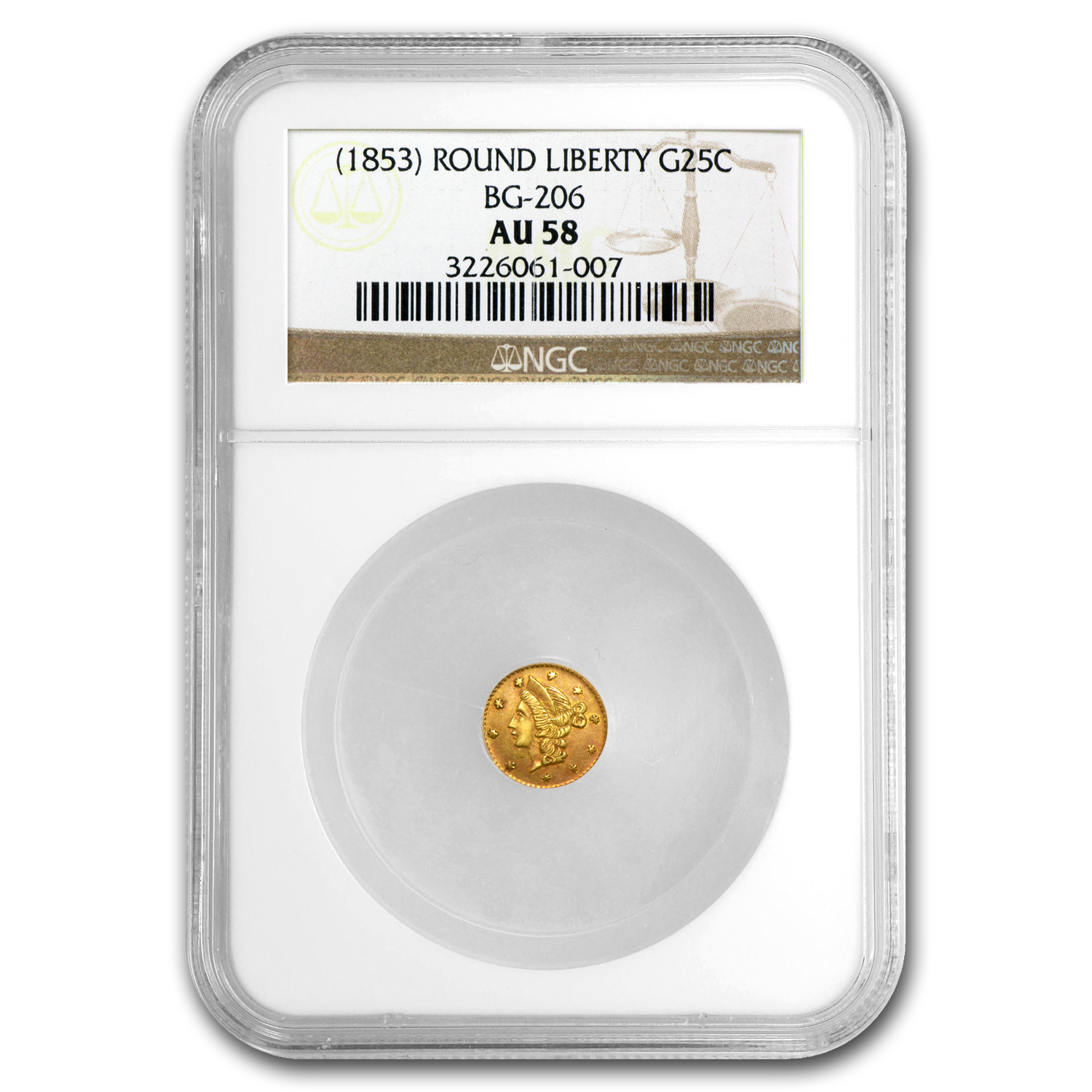 (1853) BG-206 Liberty Round 25 Cent Gold AU-58 NGC