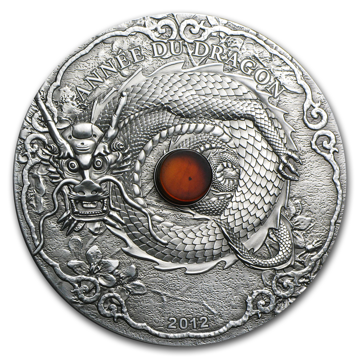 Togo 2012 Silver 2 oz Year of the Dragon - Amber