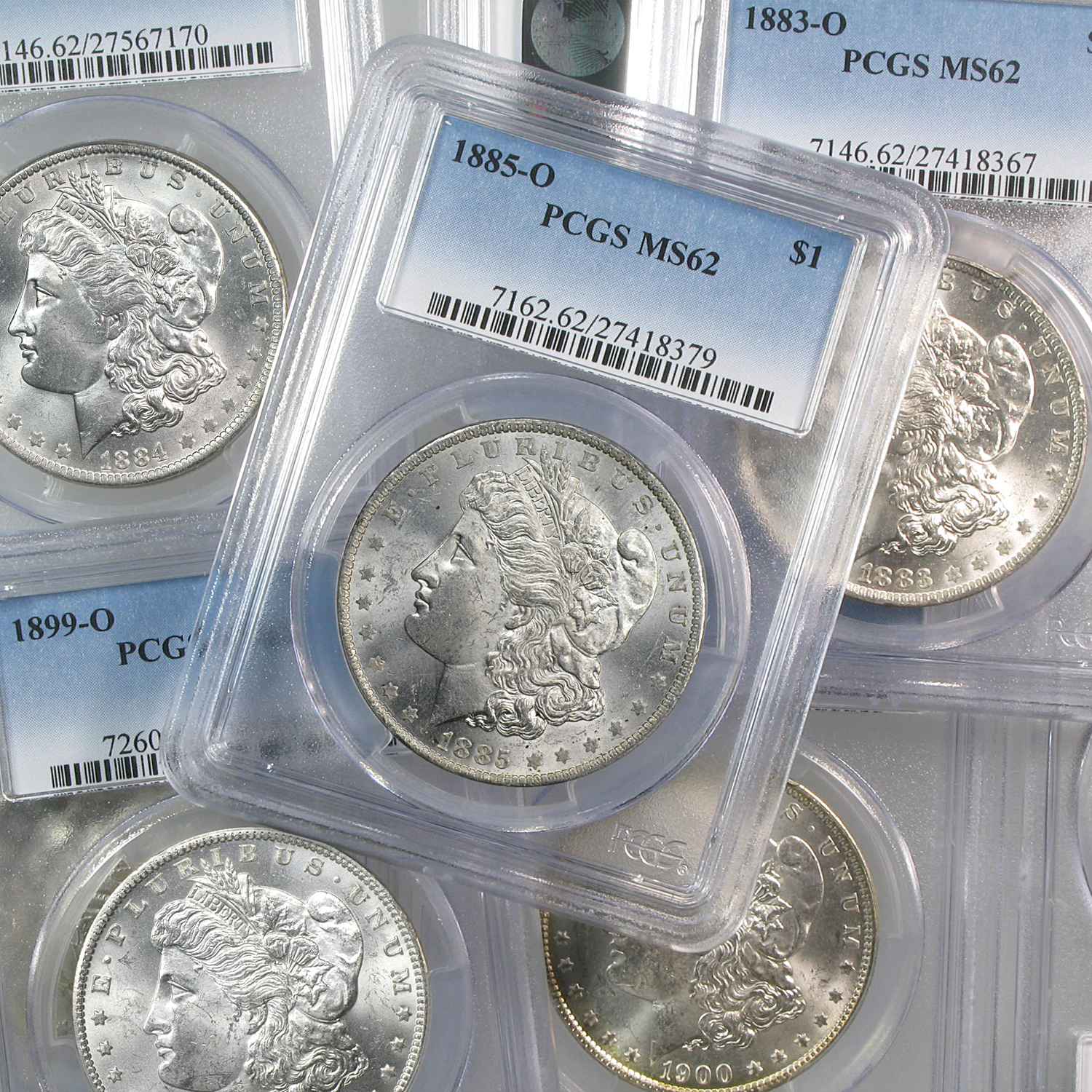 1878-1904 Morgan Dollars MS-62 PCGS (New Orleans Mint)