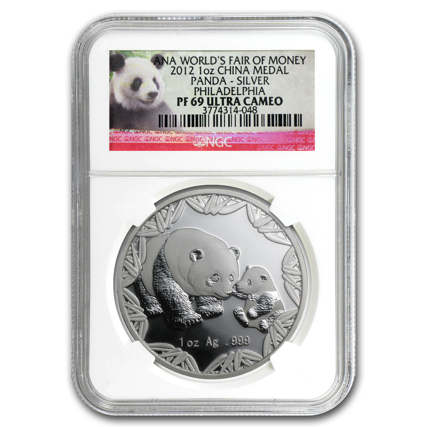 2012 China 1 oz Silver Panda Philadelphia Coin Show PF-69 NGC
