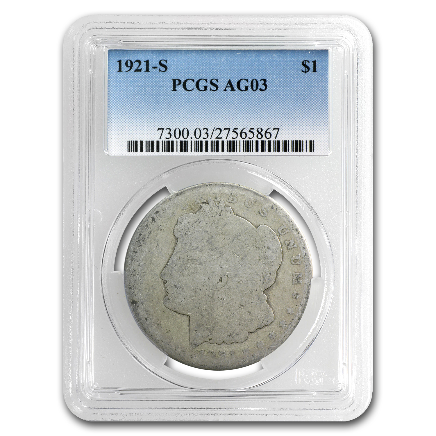 1921-S Morgan Dollar - AG-3 PCGS (Low Ball Registry Coin)
