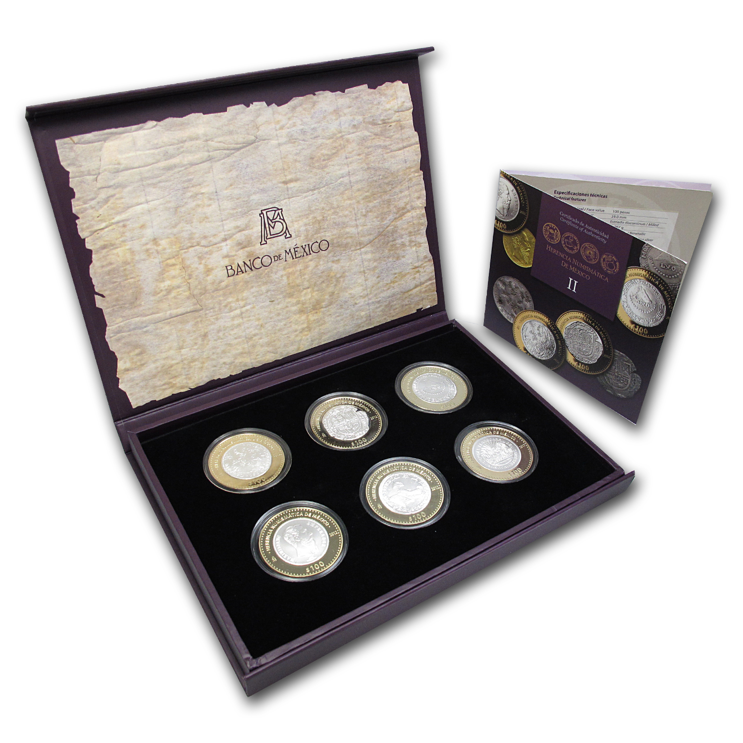 2012 Mexico 6-Coin Silver Numismatic Heritage Set (Series II)