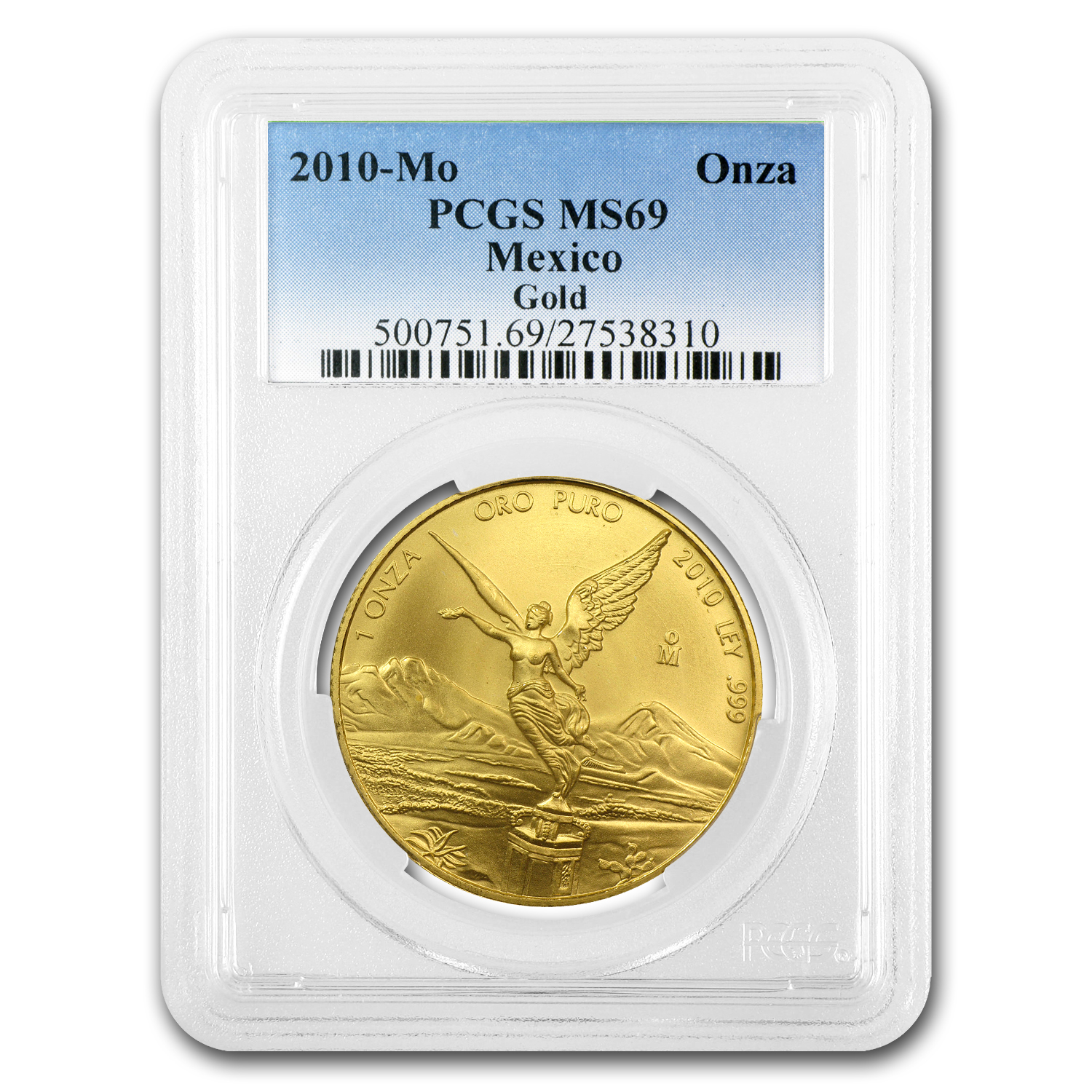 2010 1 oz Gold Mexican Libertad MS-69 PCGS