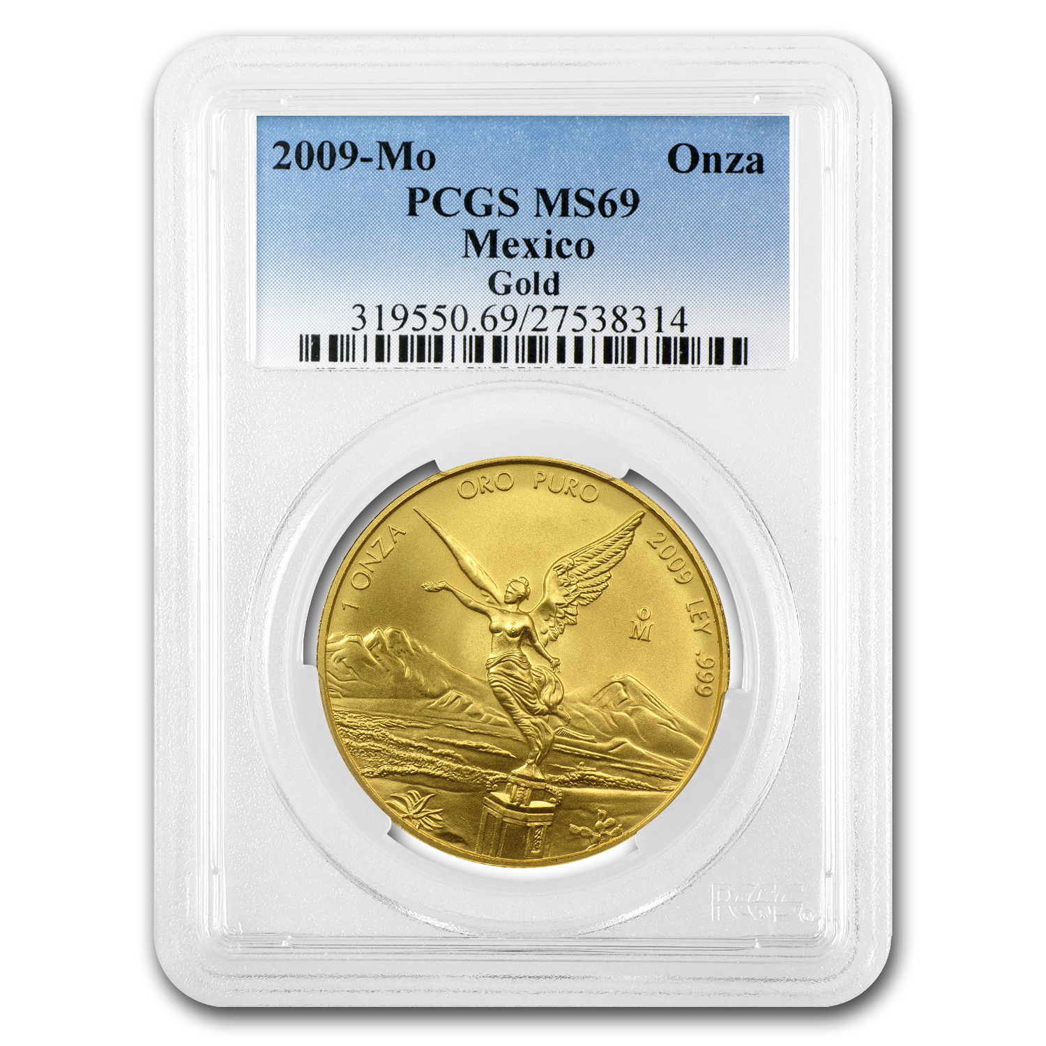 2009 1 oz Gold Mexican Libertad MS-69 PCGS