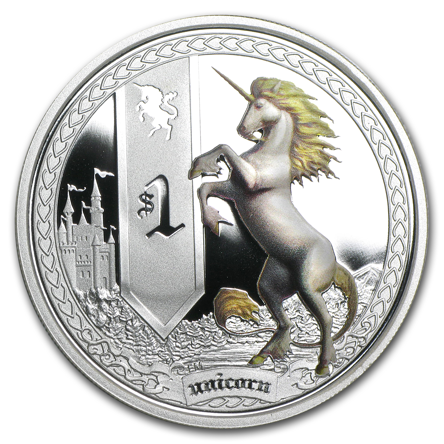 2013 Tuvalu 1 oz Silver Mythical Creatures Unicorn Proof