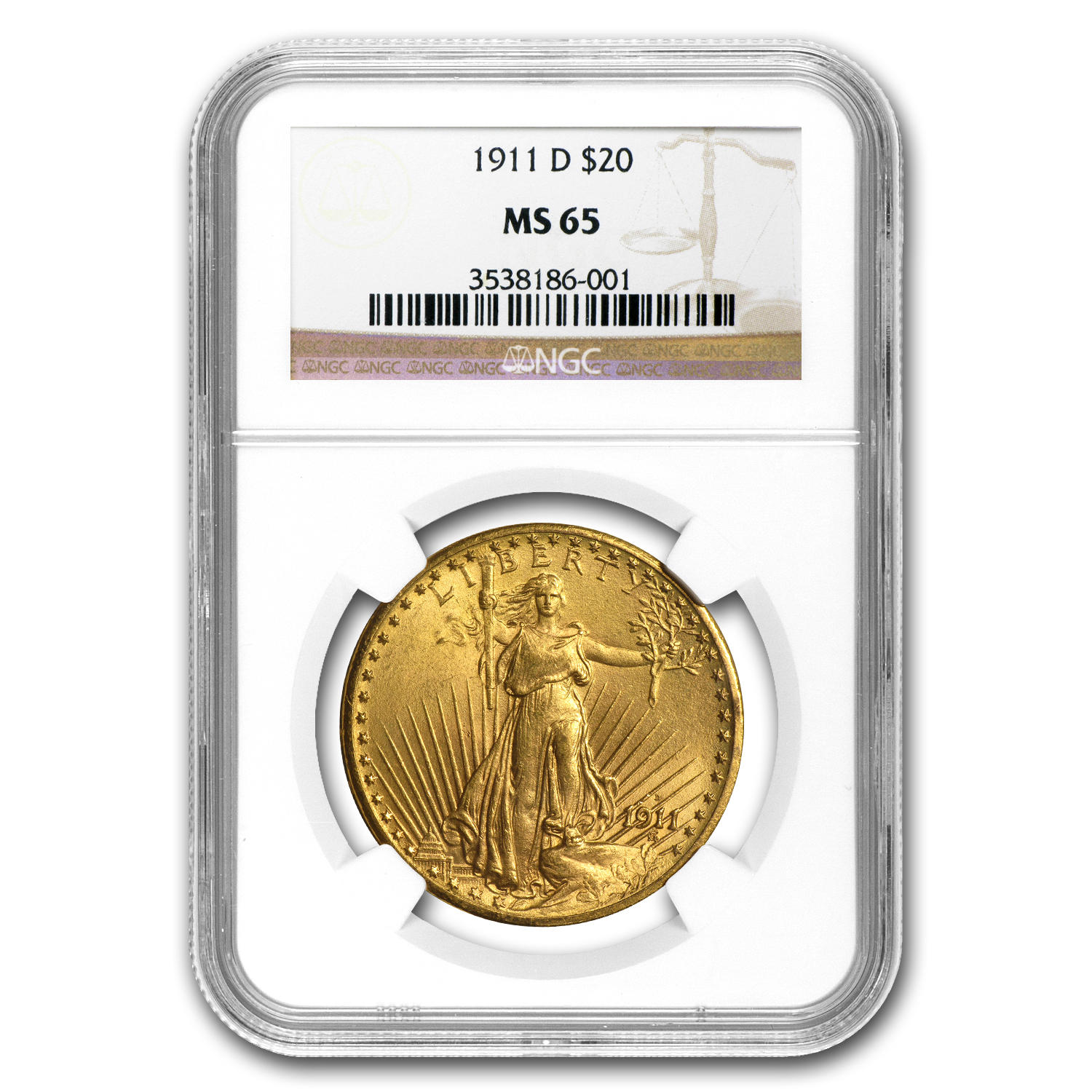 1911-D $20 St. Gaudens Gold Double Eagle MS-65 NGC