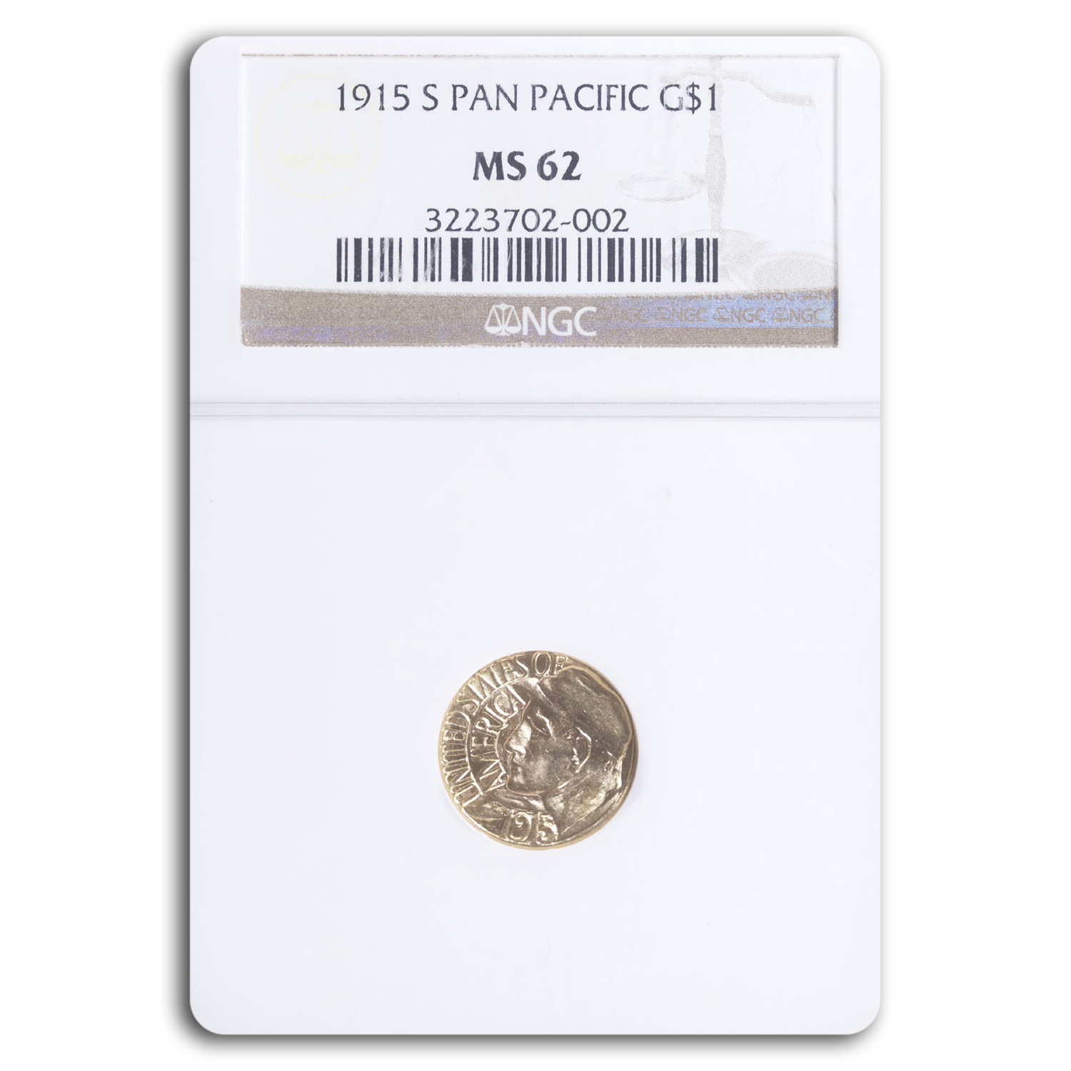 1915-S Gold $1.00 Panama-Pacific MS-62 NGC