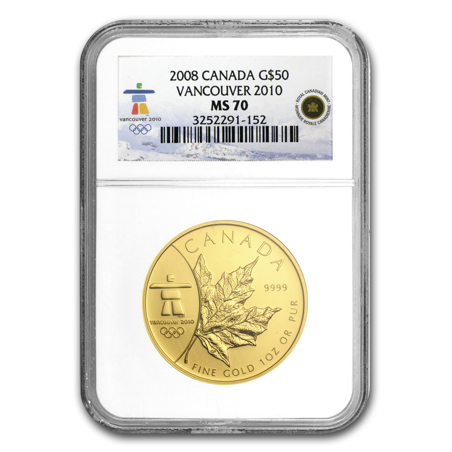 2008 1 oz Gold Canadian Maple Leaf (Vancouver) MS-70 NGC