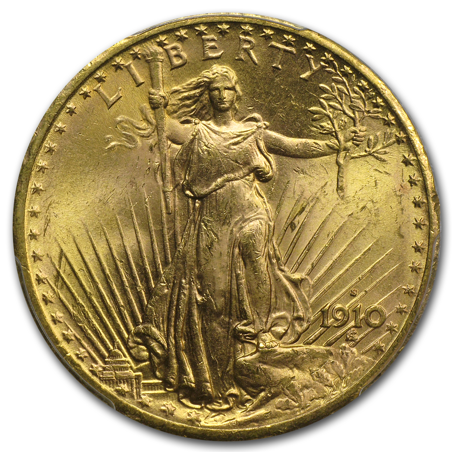 1910-S $20 St. Gaudens Gold Double Eagle MS-63+ PCGS