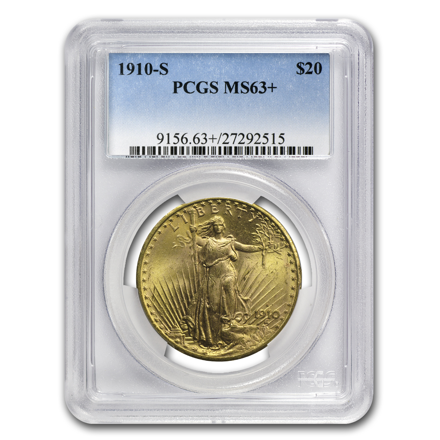 1910-S $20 St. Gaudens Gold Double Eagle MS-63+ PCGS CAC