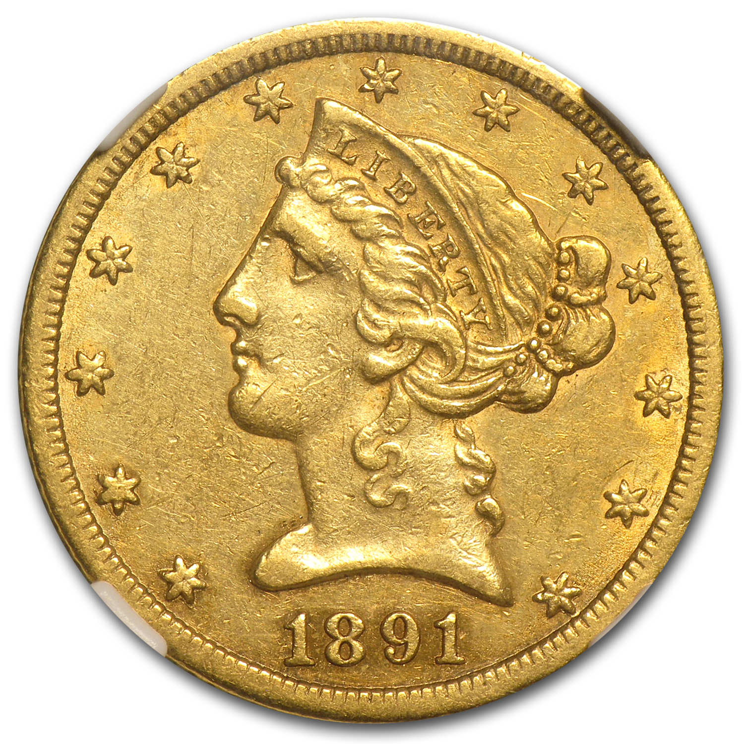 1891-CC $5 Liberty Gold Half Eagle - AU-53 NGC