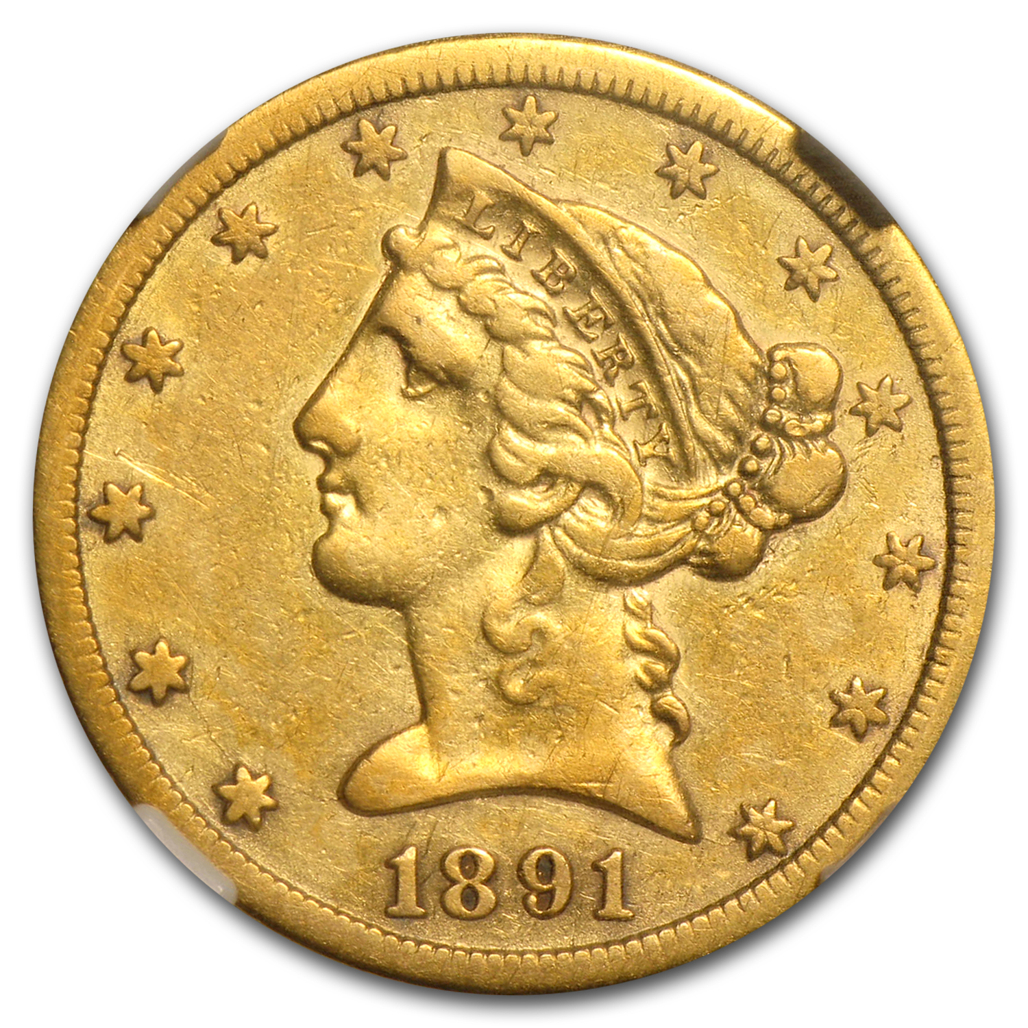 1891-CC $5 Liberty Gold Half Eagle XF Details NGC