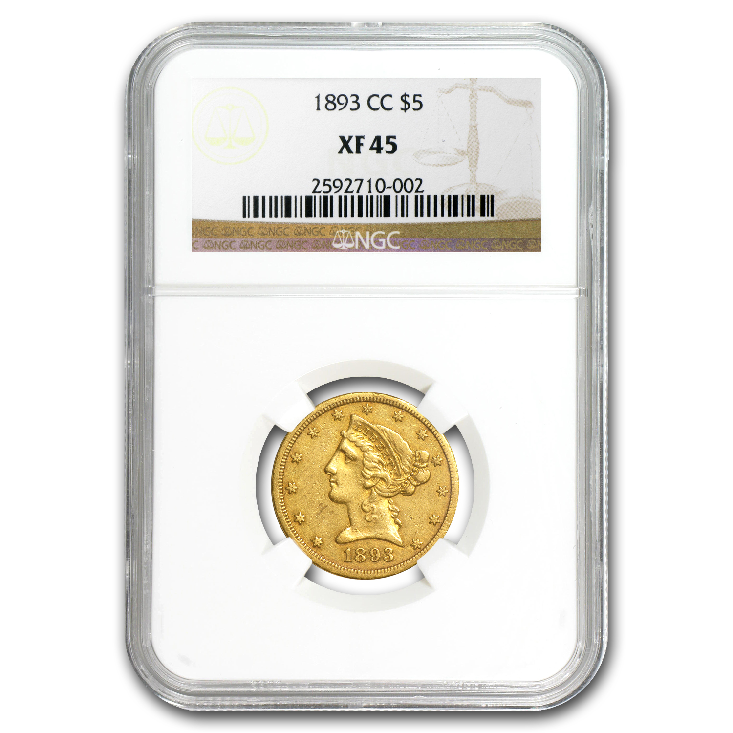1893-CC $5 Liberty Gold Half Eagle XF-45 NGC