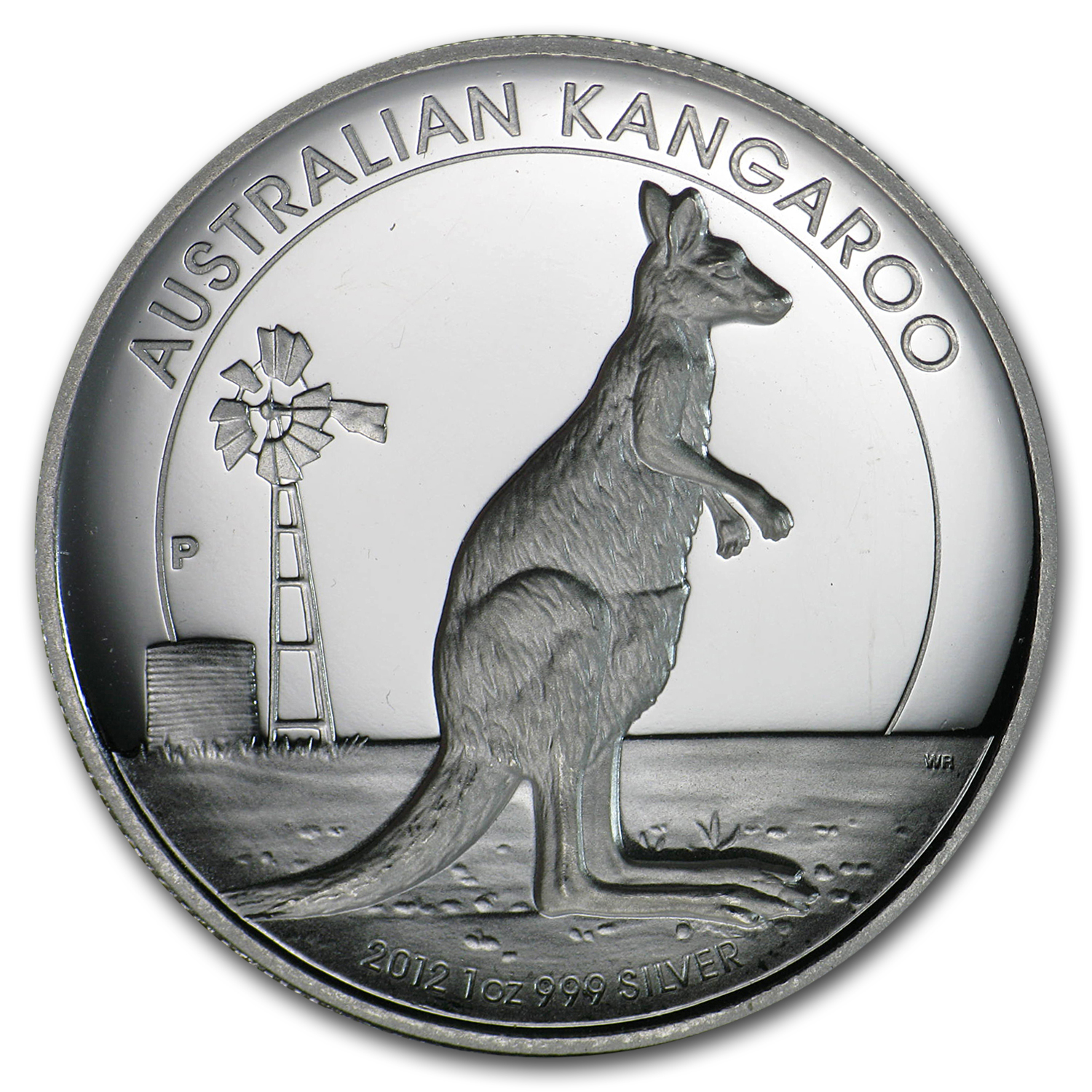 2012 Australia 1 oz Proof Silver High Relief Kangaroo (Abrasions)