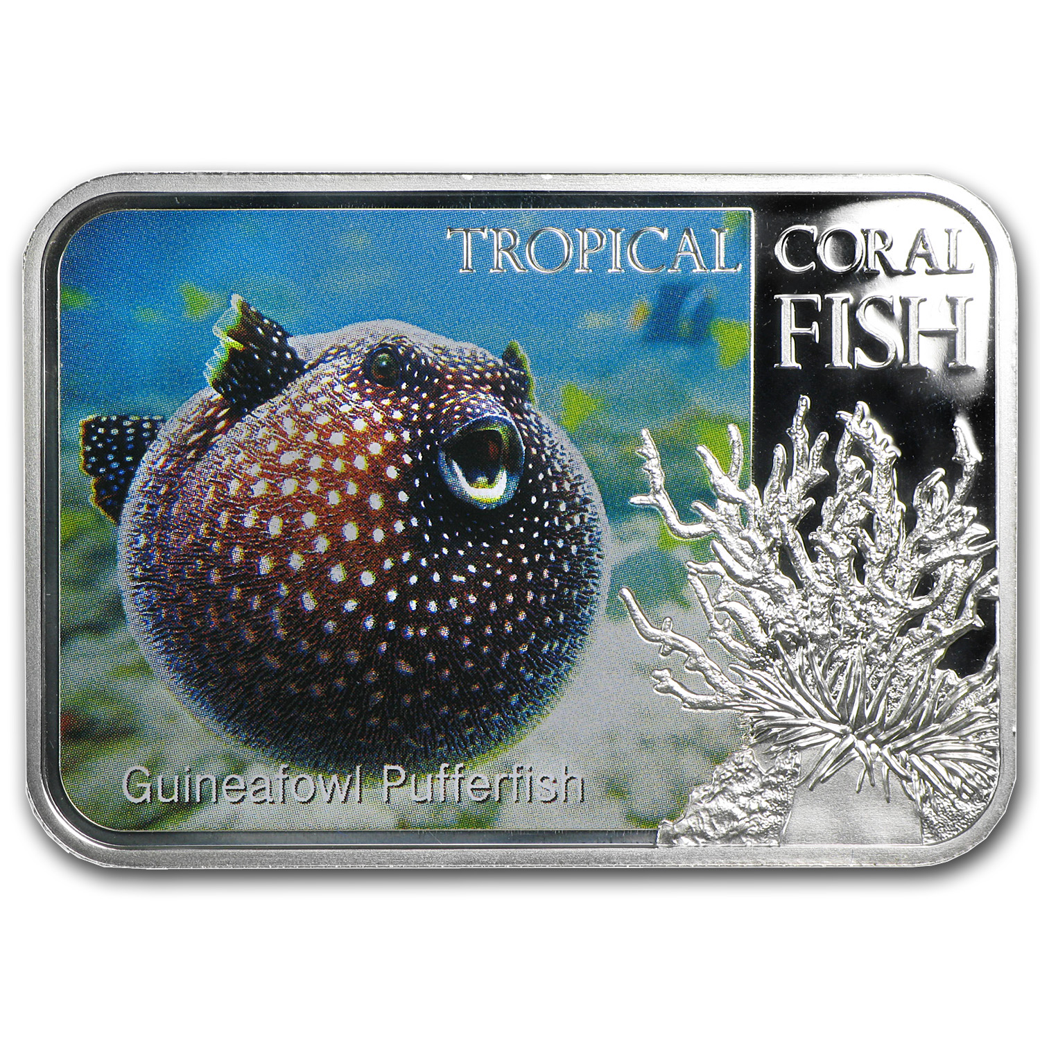 2013 1 oz Silver Niue Tropical Coral Fish - Guineafowl Pufferfish
