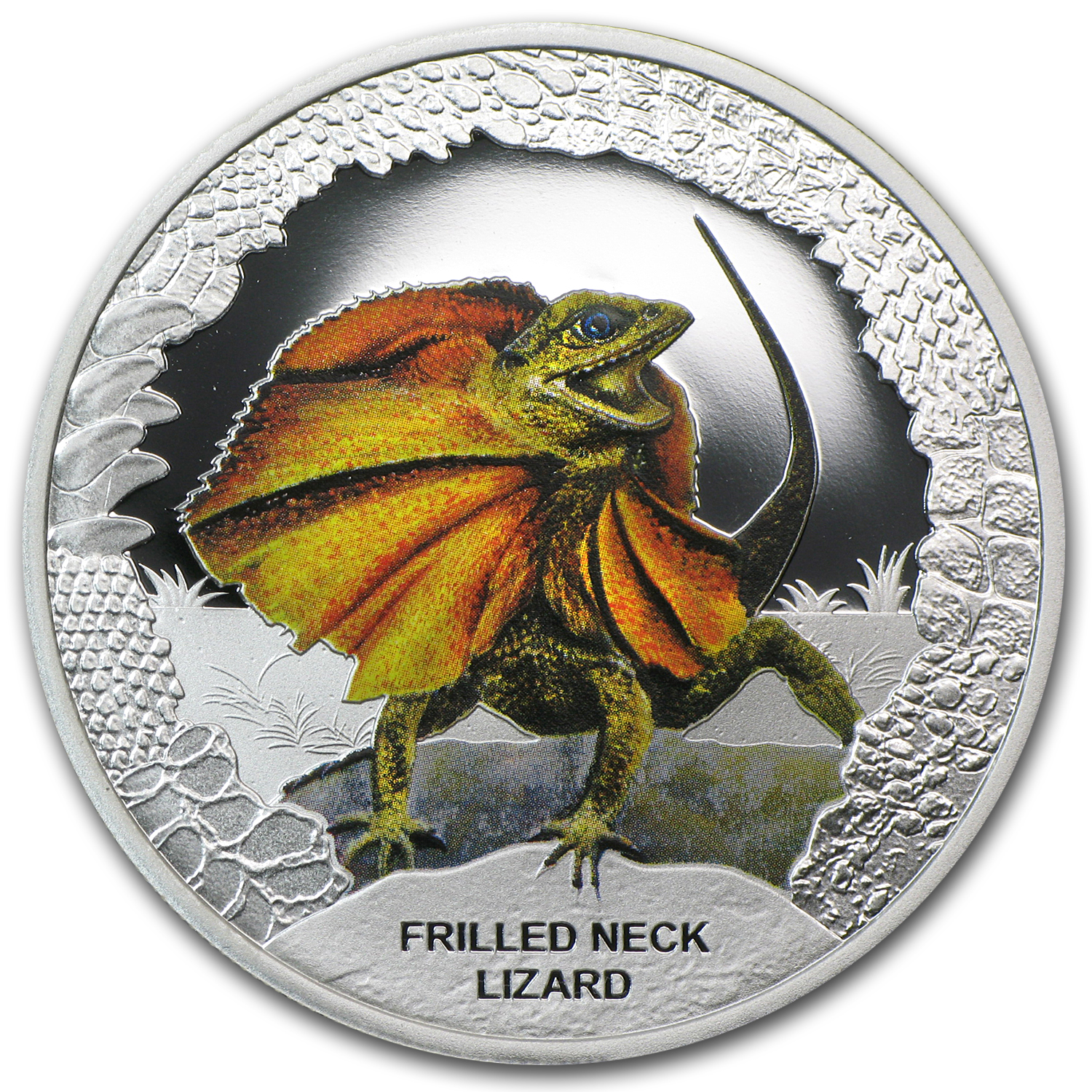 2013 Tuvalu Silver $1 Reptile Series The Frilled Neck Lizard