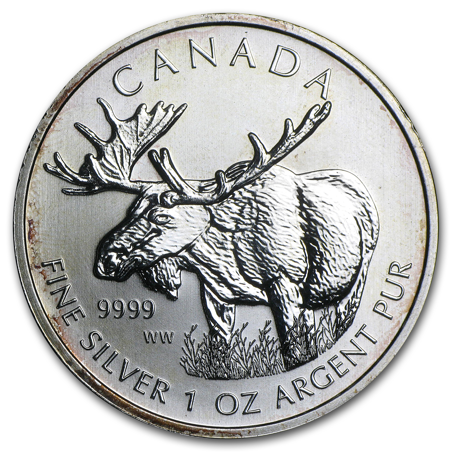 2012 1 oz Silver Canadian Wildlife Series Moose (Abrasions)