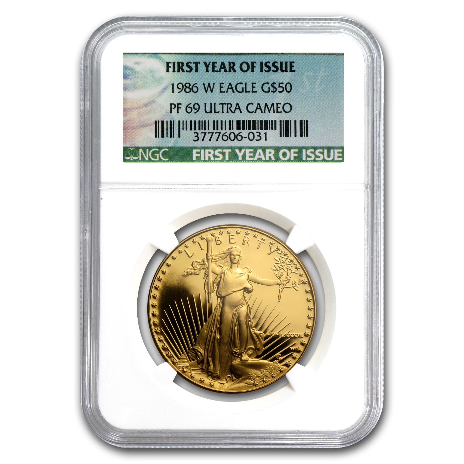 1986-W 1 oz Proof Gold American Eagle PF-69 NGC (Green Label)