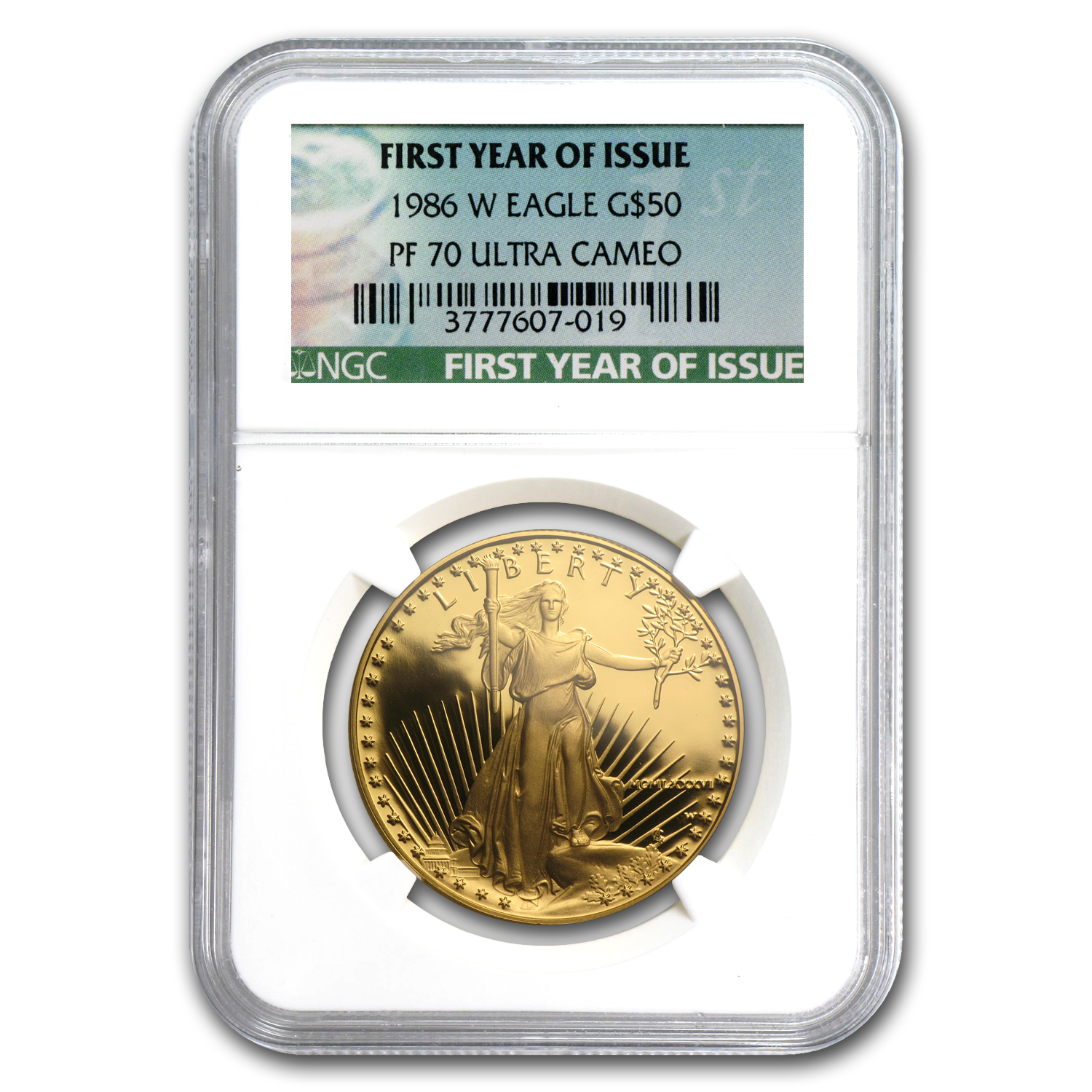 1986-W 1 oz Proof Gold American Eagle PF-70 NGC (Green Label)