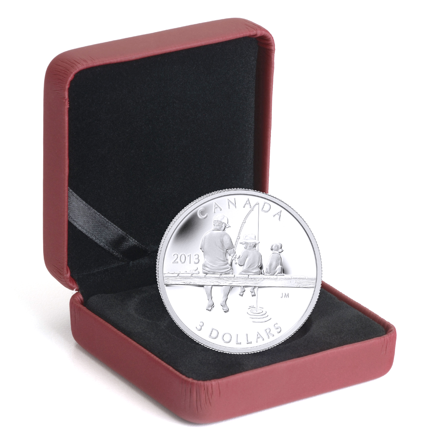 2013 1/4 oz Silver Canadian $3 Father & Son Fishing with Dog