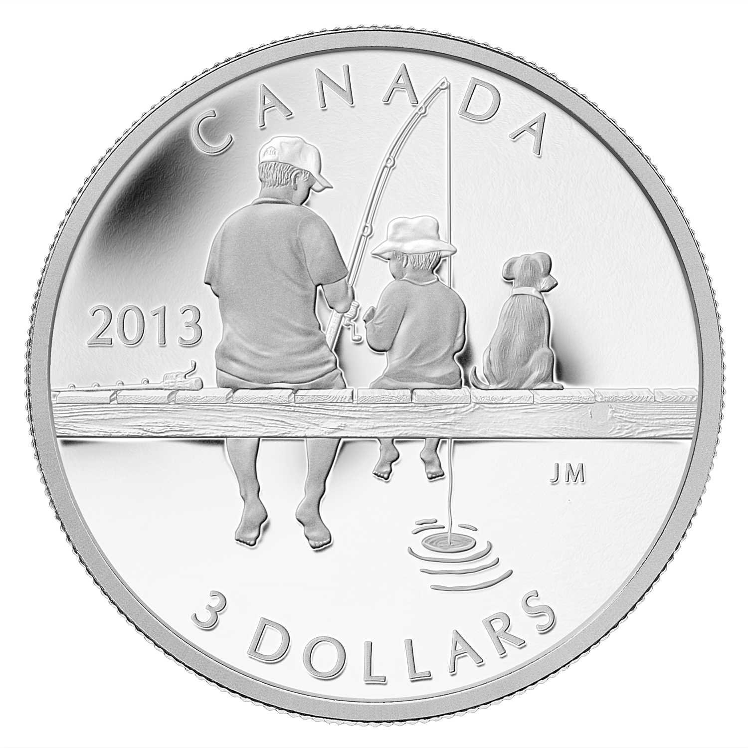 2013 Canada 1/4 oz Silver $3 Father & Son Fishing with Dog