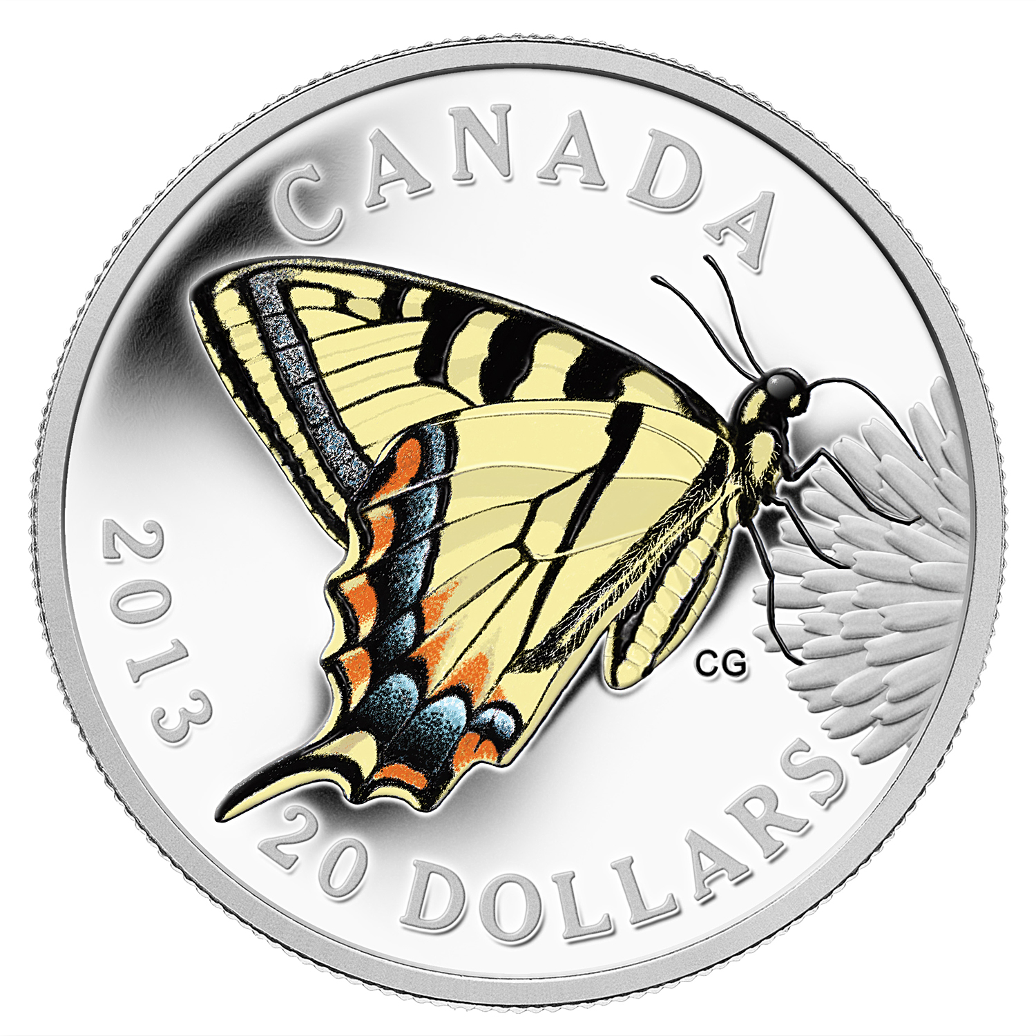 2013 1 oz Silver Canadian $20 Tiger Swallowtail (Butterfly #1)