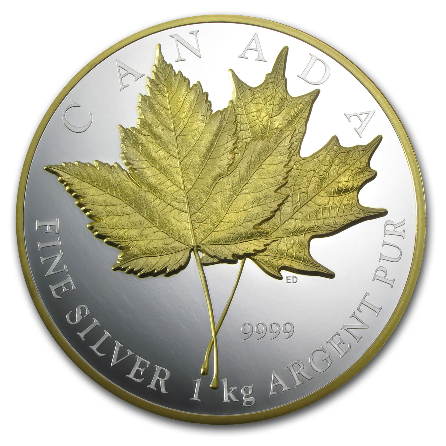 2013 Canada 1 Kilo Silver 250 Maple Leaf Forever Gilded