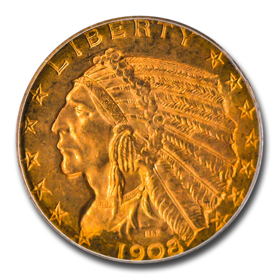 1908-D $5 Indian Gold Half Eagle - MS-64 PCGS