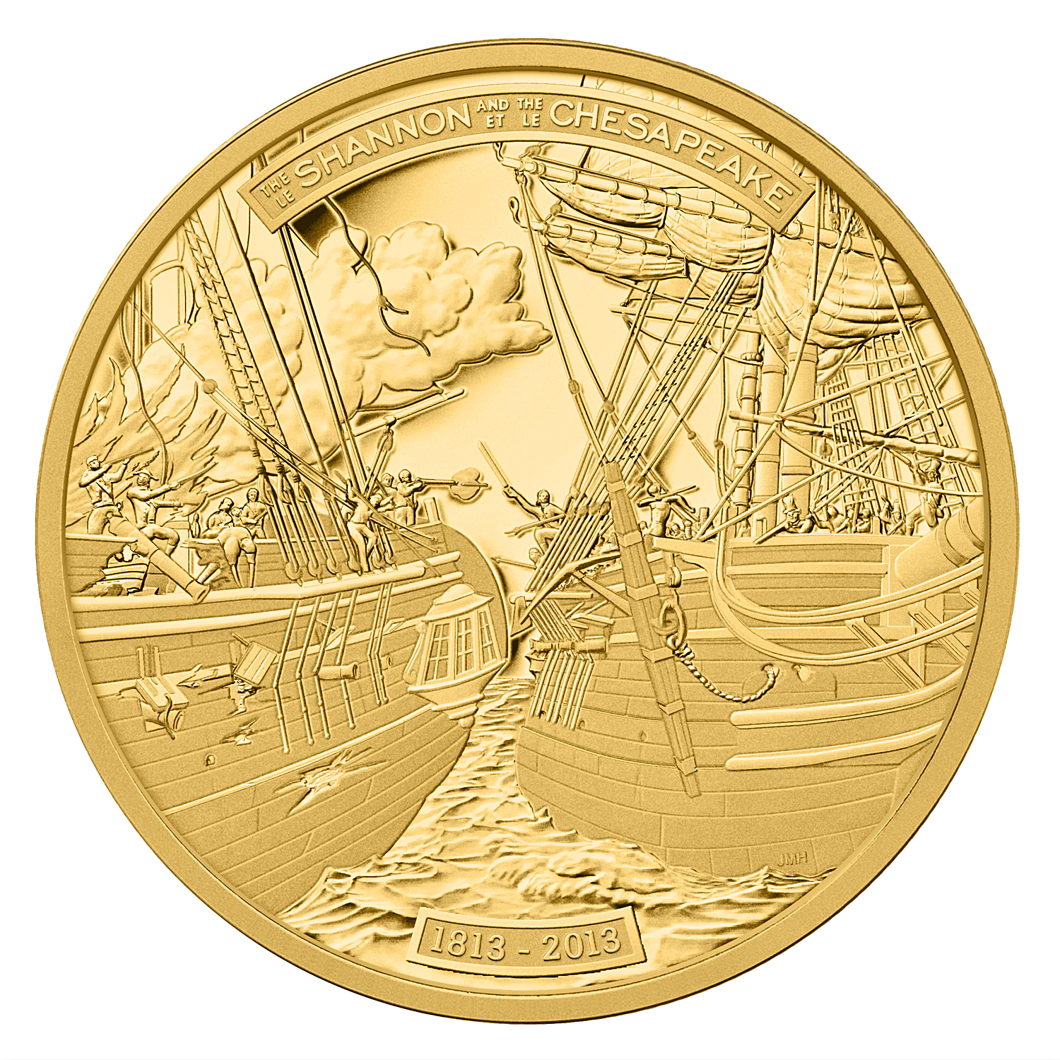 2013 Canada 5 oz Proof Gold $500 HMS Shannon & USS Chesapeake