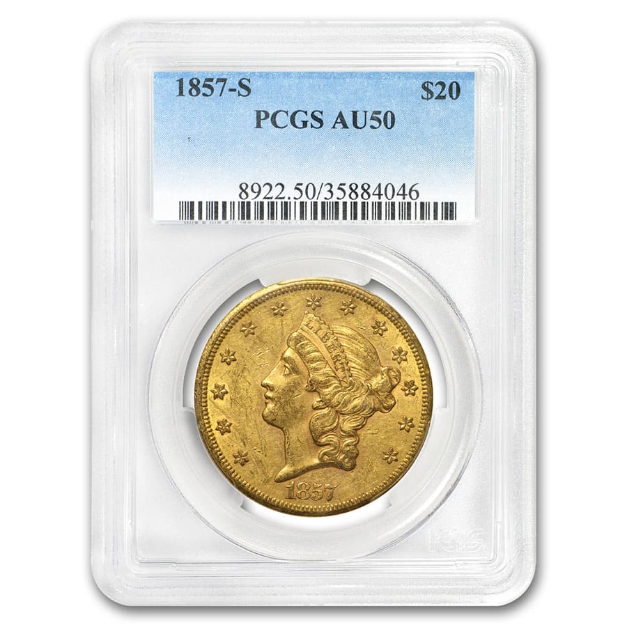 1857-S $20 Liberty Gold Double Eagle AU-50 PCGS