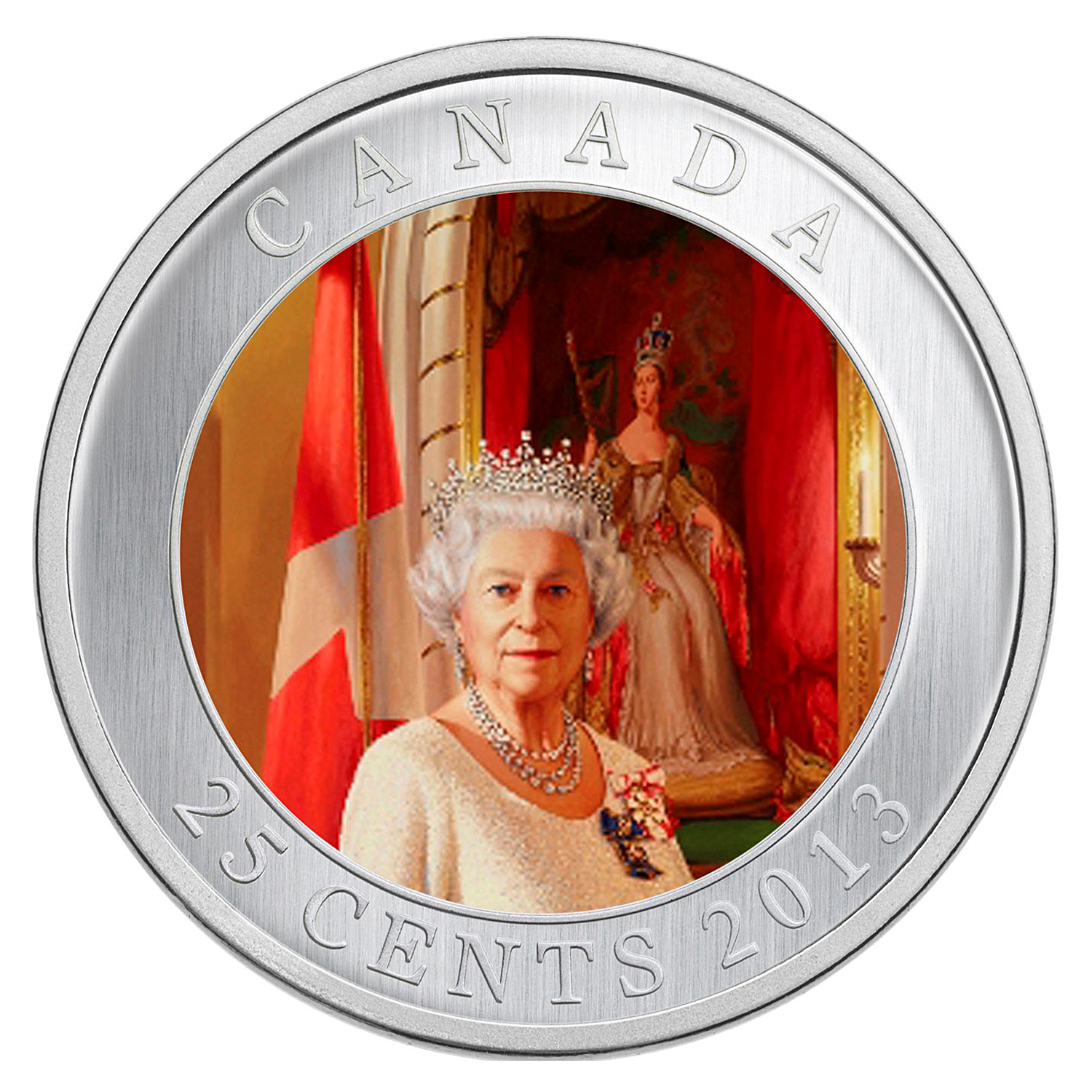 2013 Canada $0.25 Queen Elizabeth II Coronation (Coloured)