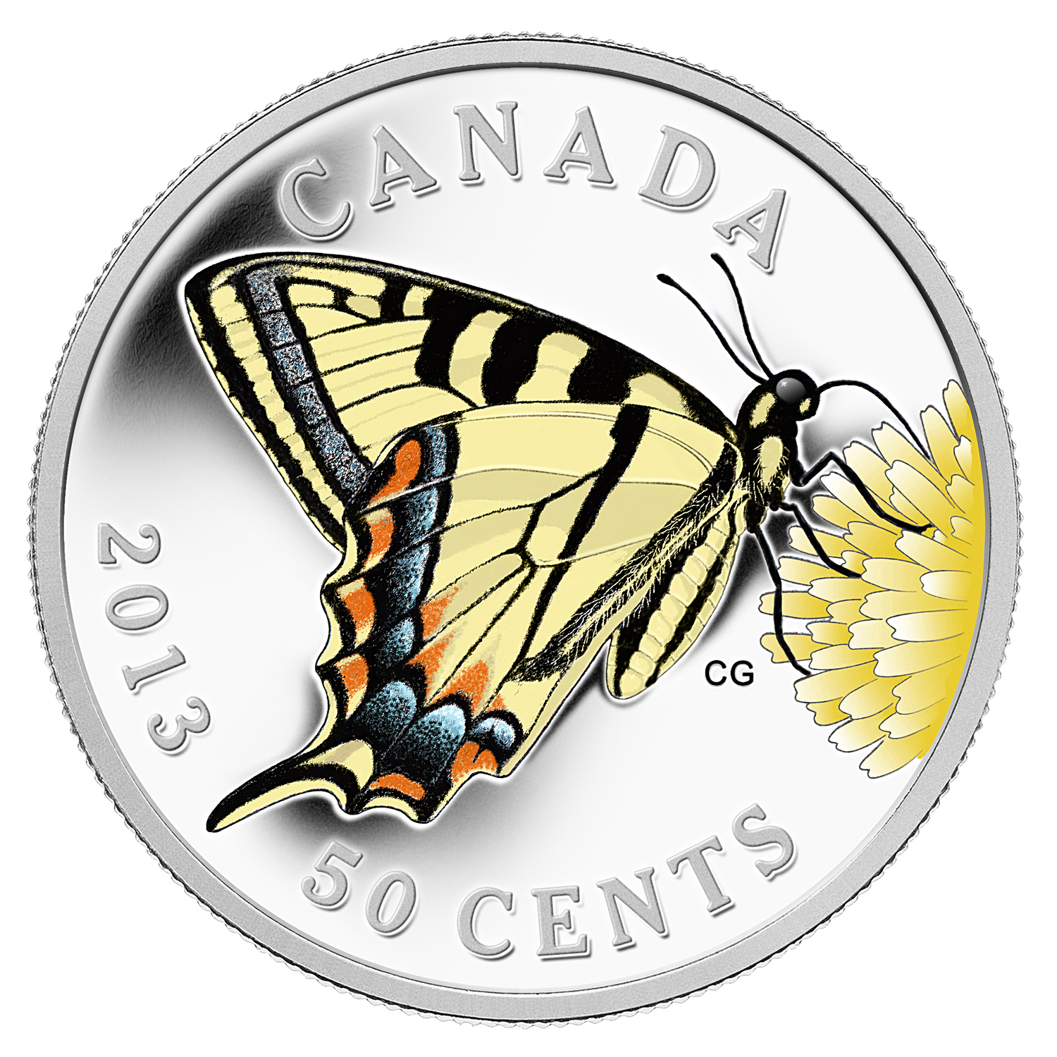 2013 Silver-Plated $0.50 Canadian Tiger Swallowtail -Butterfly #1
