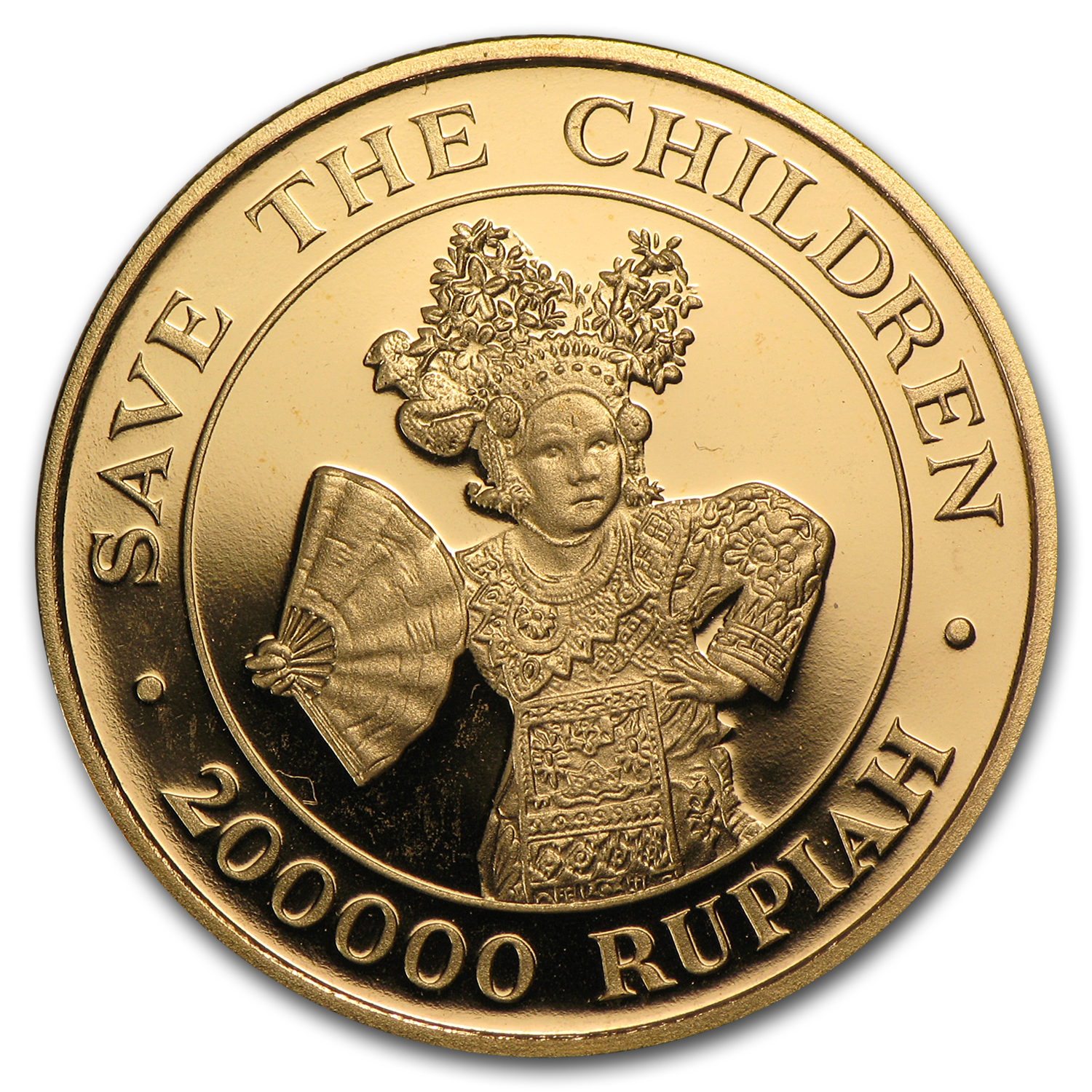 1990 Indonesia Gold 200000 Rupiah Save the Children Proof