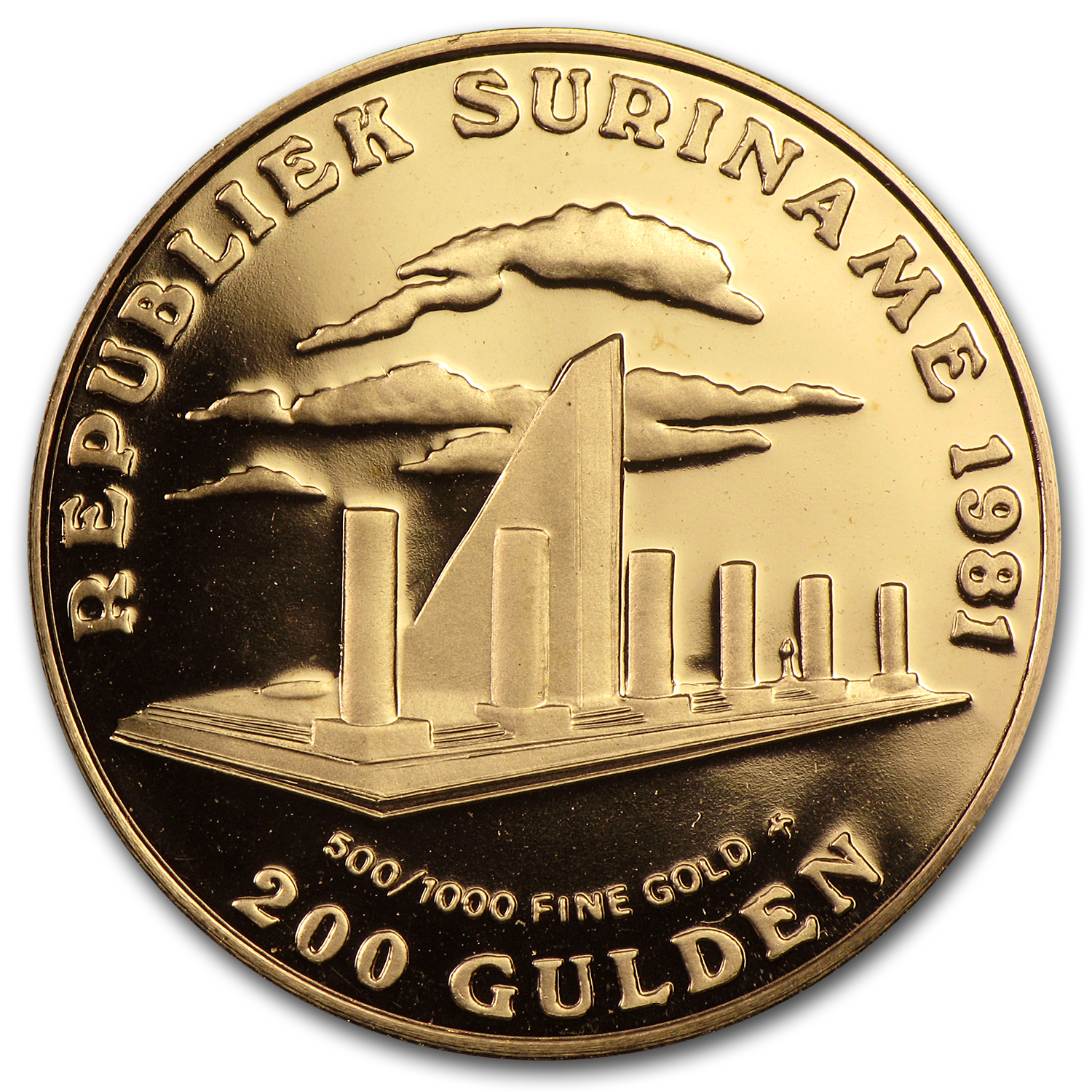 1981 Suriname Gold 200 Gulden Revolution BU