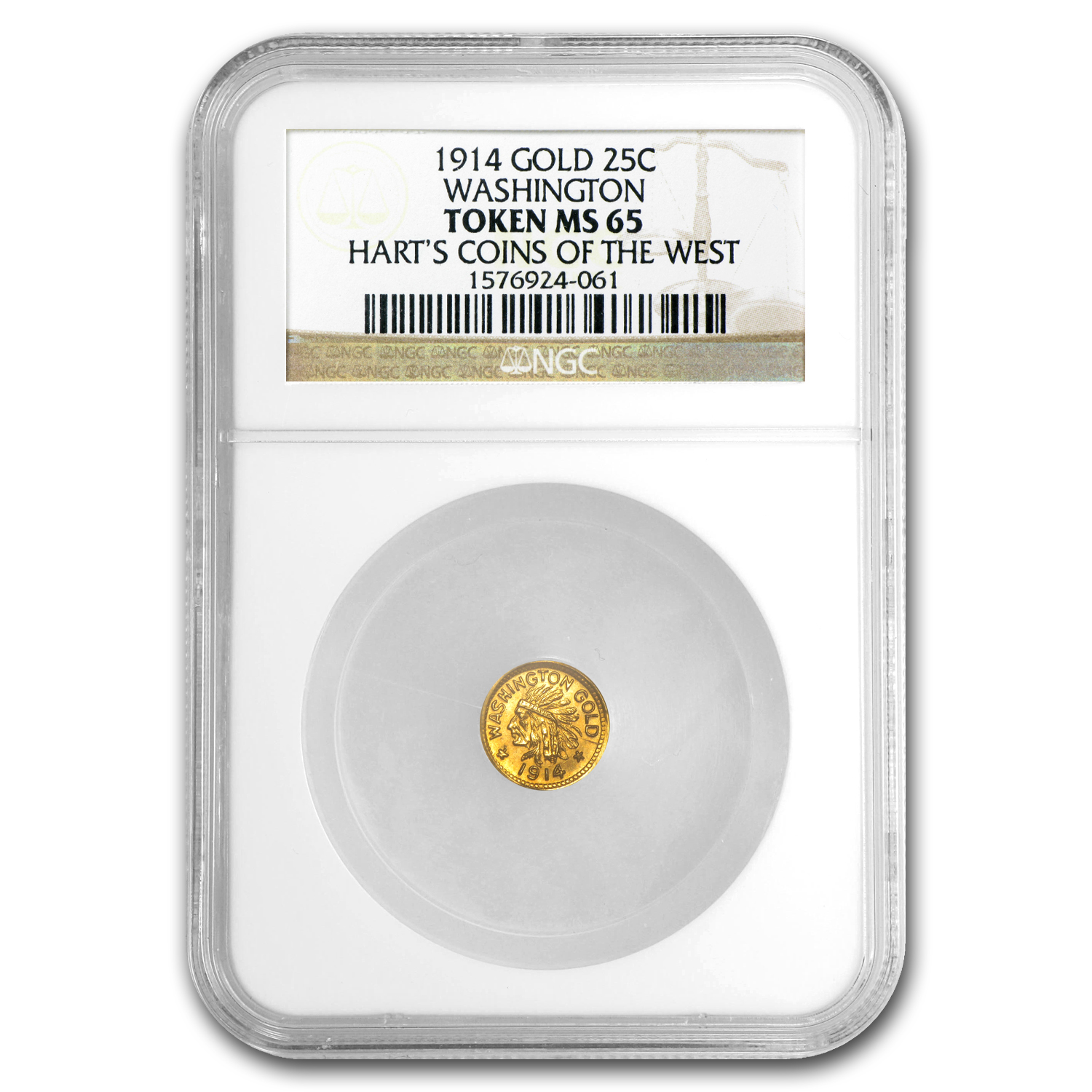 1914 Indian Round Quarter Washington Gold MS-65 NGC