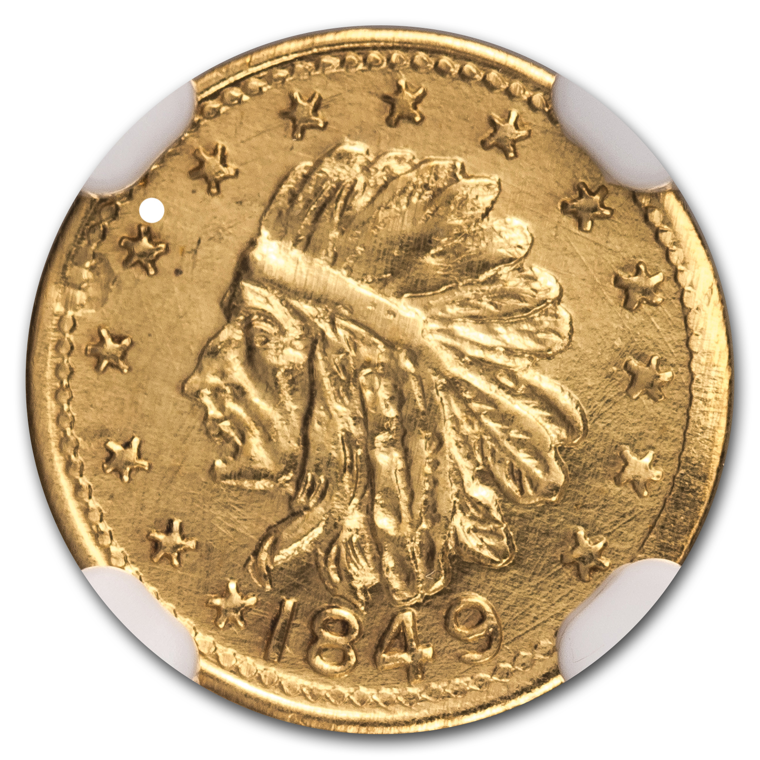 1849 Indian Round One Dollar Gold MS-66 NGC