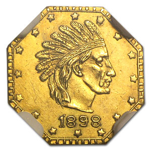 1898 Indian Octagonal One Pinch Alaska Gold MS-61 NGC